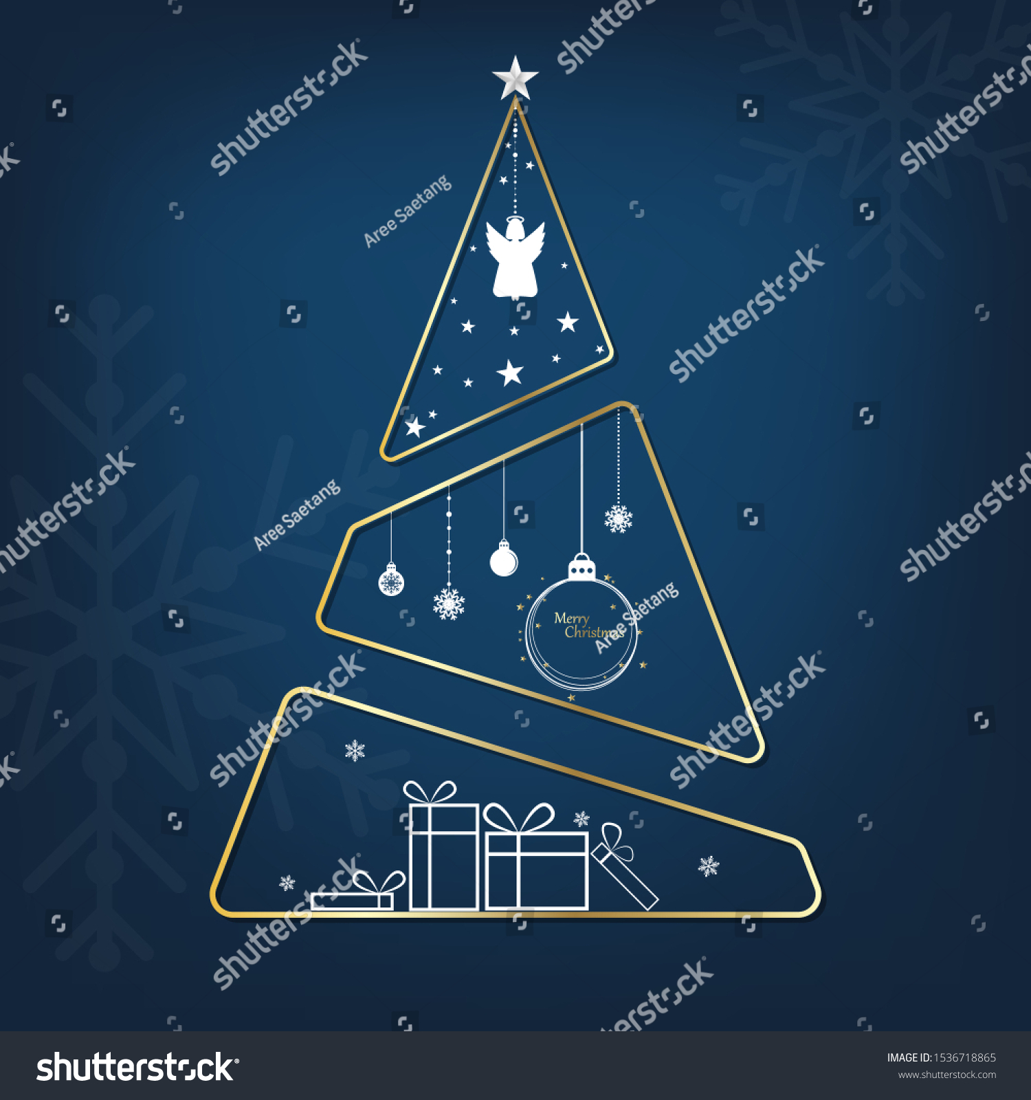 Modern Christmas Tree On Blue Background Stock Vector Royalty Free 1536718865