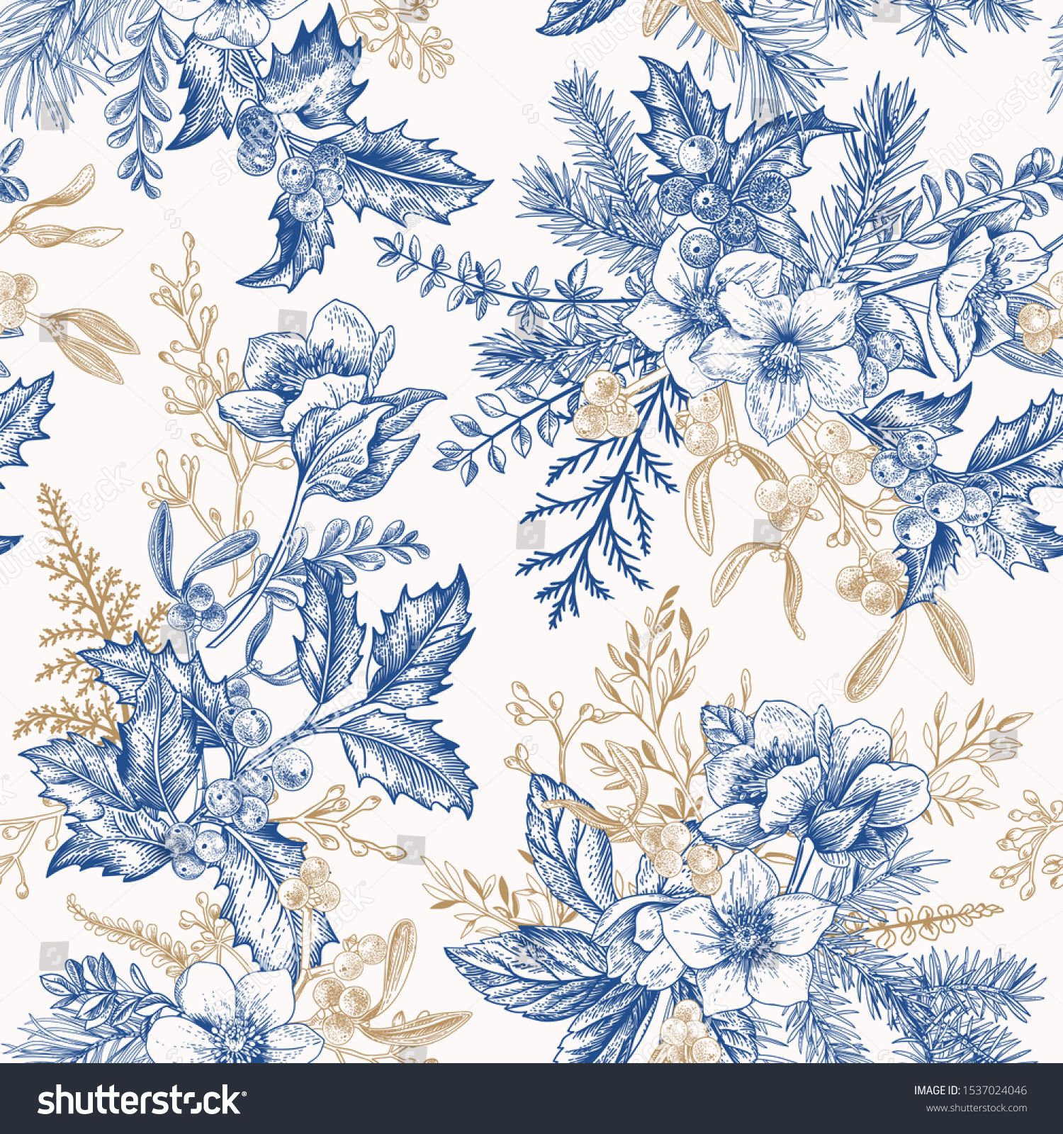 Winter seamless pattern with hellebore flowers, ferns, conifers, eucalyptus seeds. Christmas vintage background. Botanical illustration. Blue and gold. #1537024046