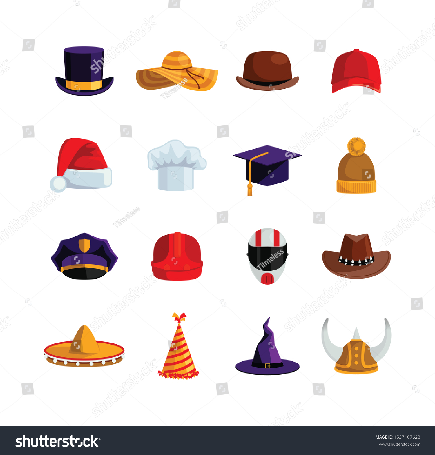 Different Types Collection Hats Men Women Stock Vector Royalty Free 1537167623