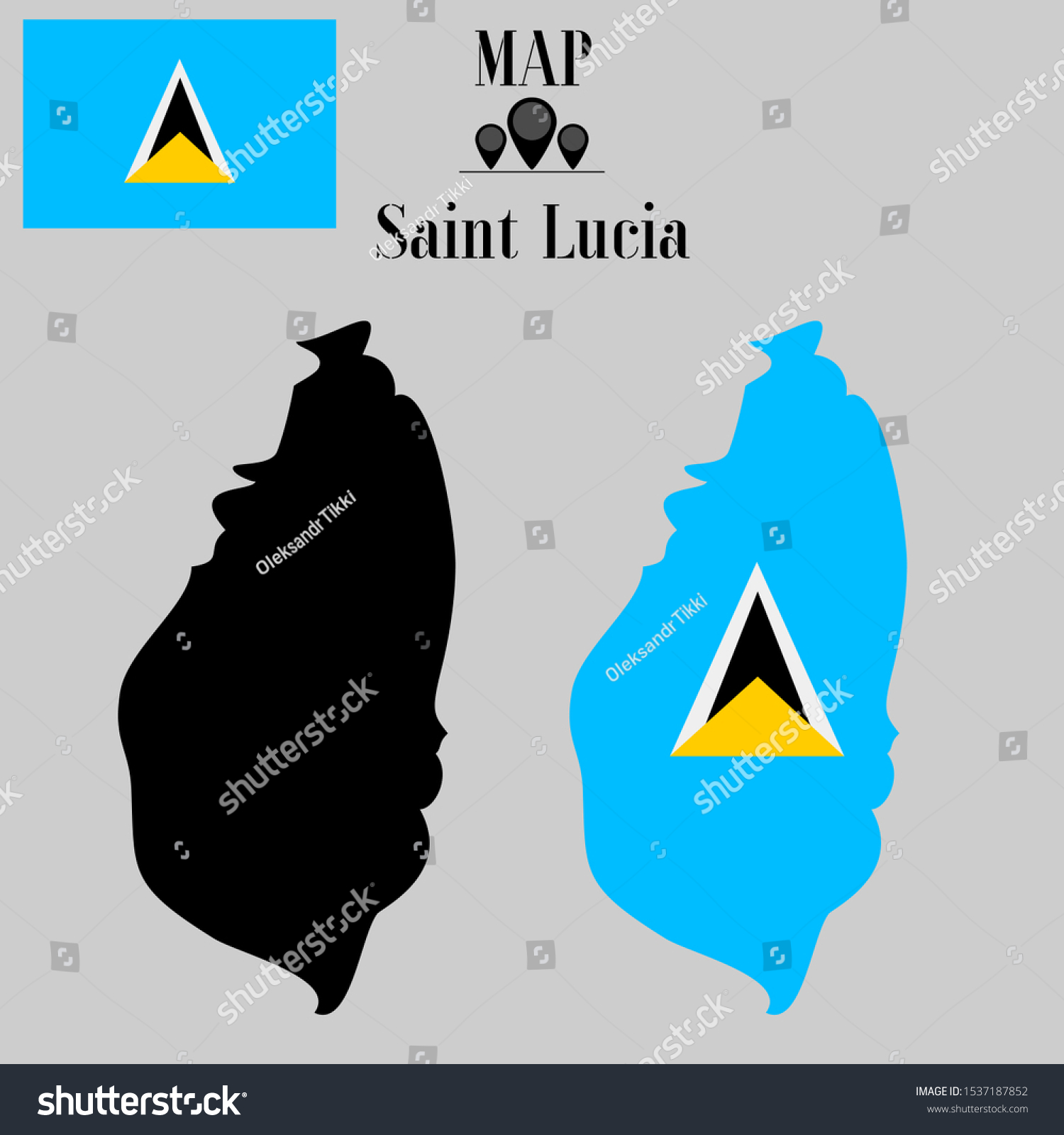 Image of: Caribbean Saint Lucia Outline World Map Stock Vector Royalty Free 1537187852