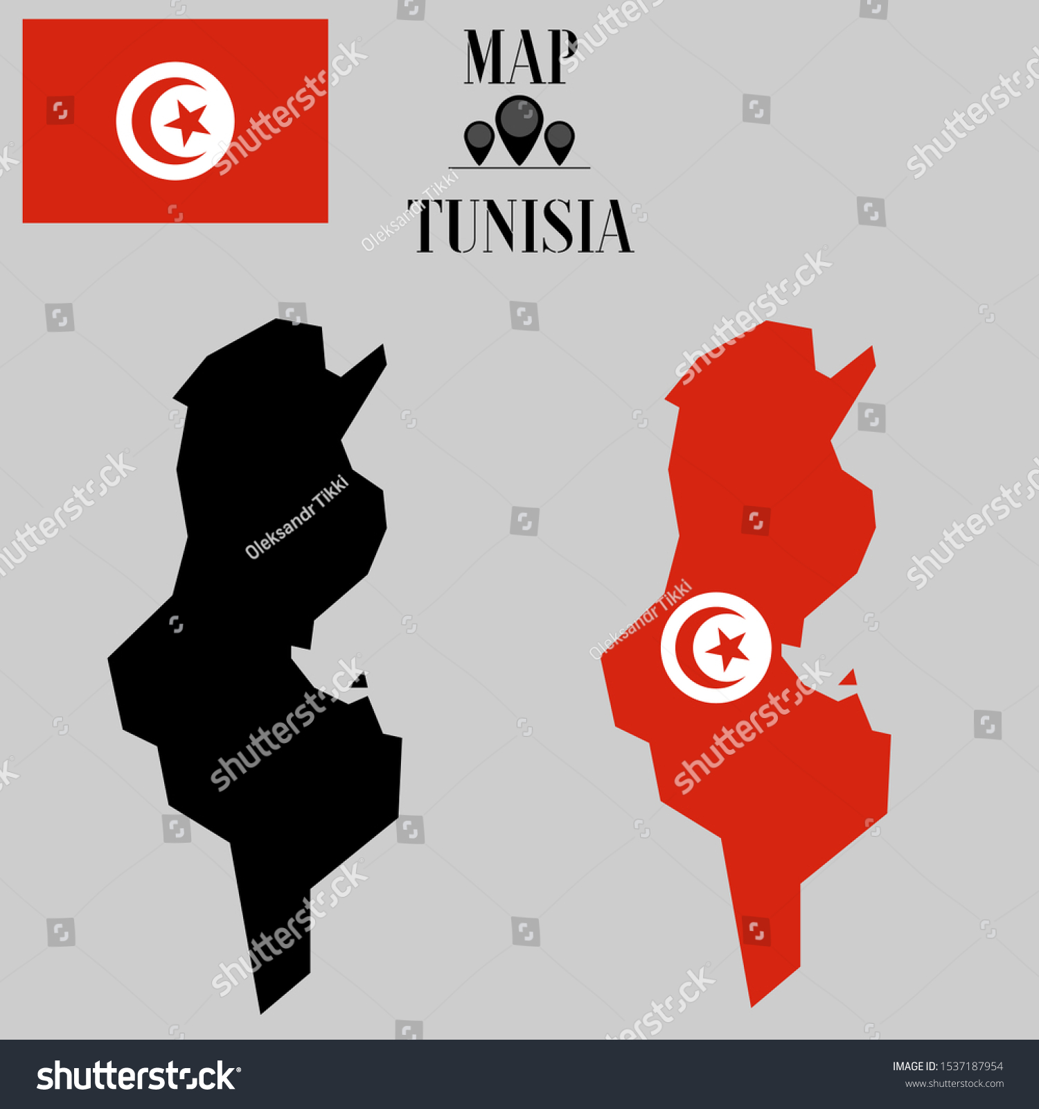 Vector De Stock Libre De Regalias Sobre African Tunisia Outline World Map Silhouette1537187954