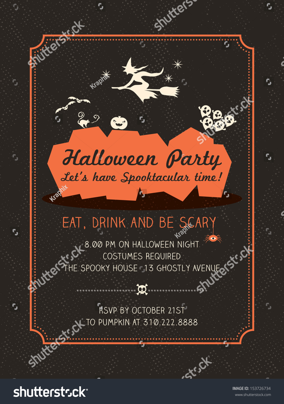 halloween party invitation template cardposterflyer lager vektor 153726734 shutterstock. Black Bedroom Furniture Sets. Home Design Ideas