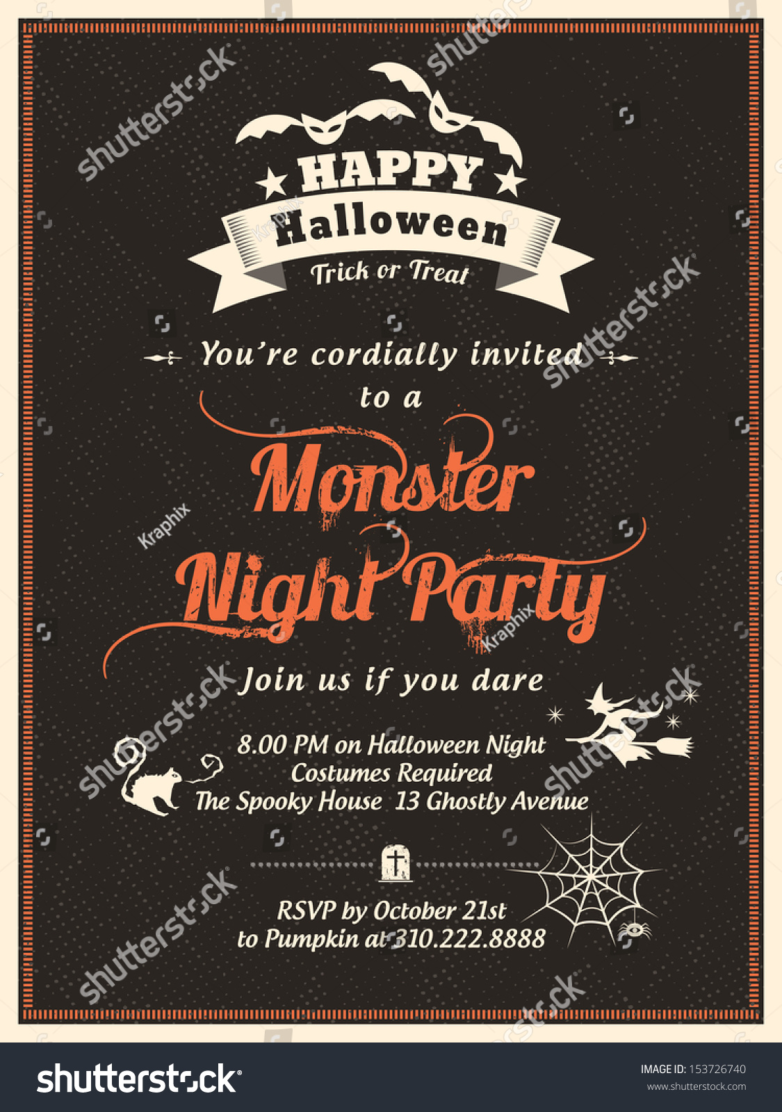 halloween party invitation template cardposterflyer stock vector halloween party invitation template for card poster flyer