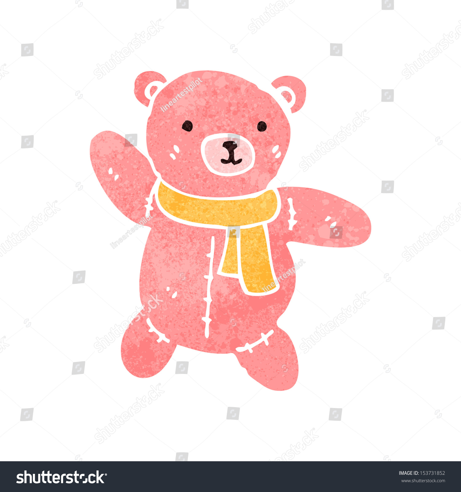 Greeting Card Cute Cartoon Teddy Bear Stockvektorgrafik