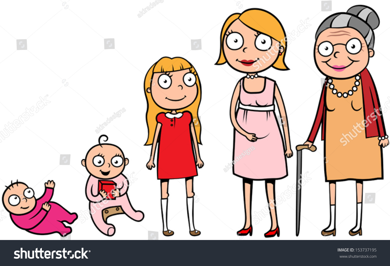 Life cycle various stages of development from an embryo to - Cartoon Illustration Of A Woman During Different Life Stages Life Cycle Growth Development