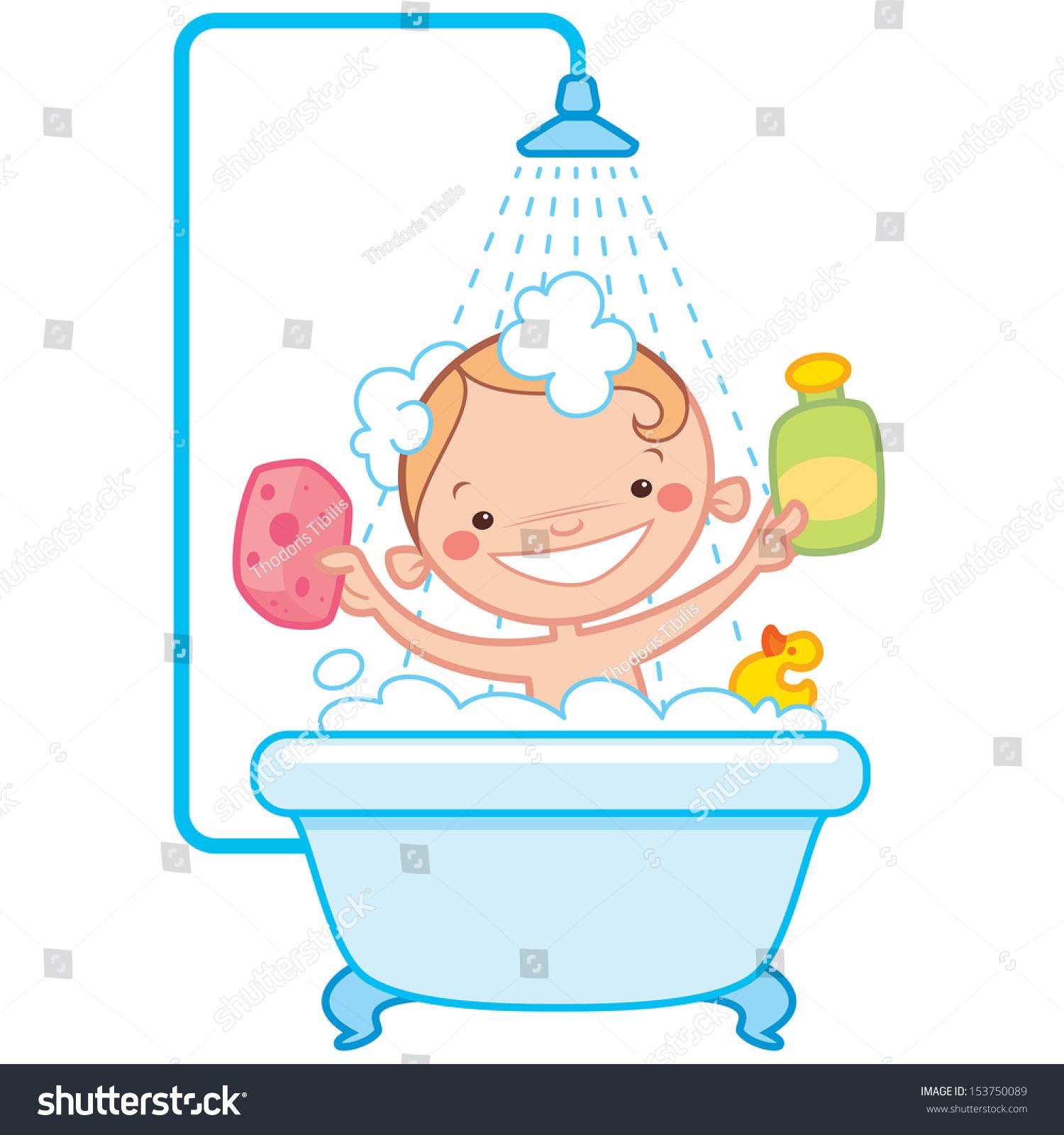 Happy cartoon baby kid having bath stock vector 153750089 for Bathing images