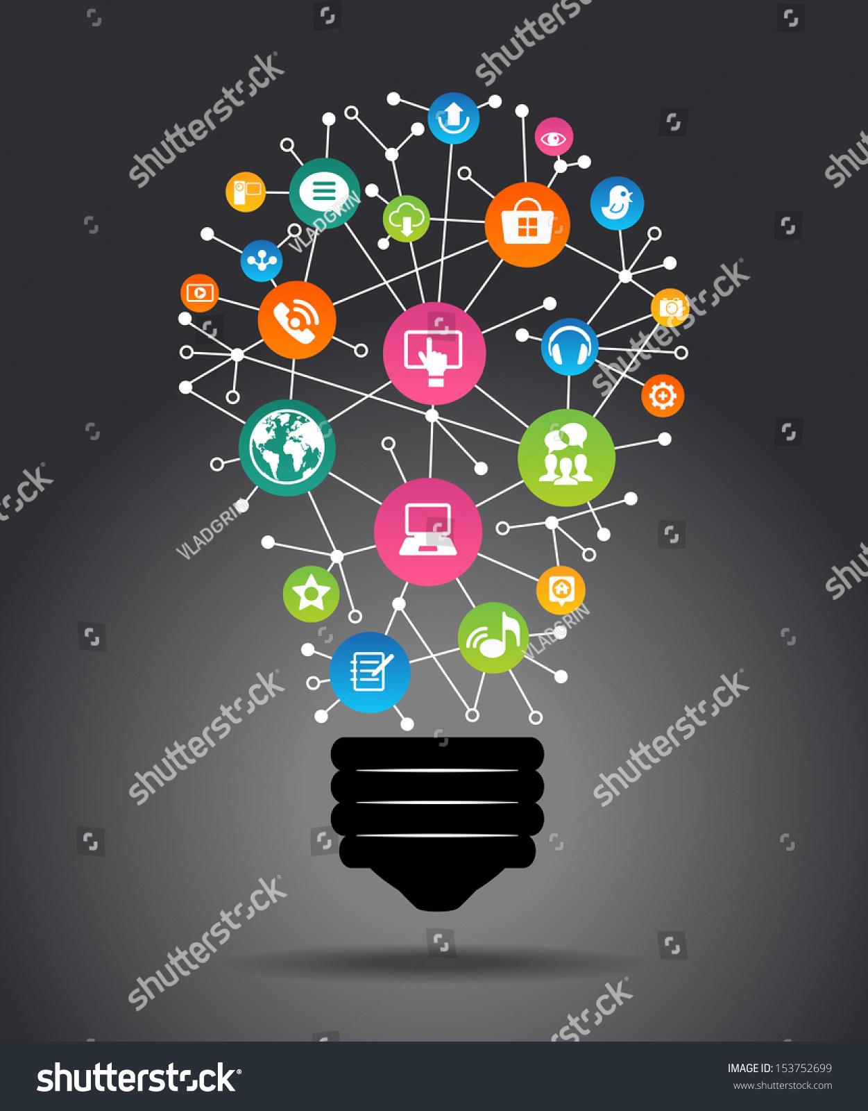 Software program icons modern infographic template creative light
