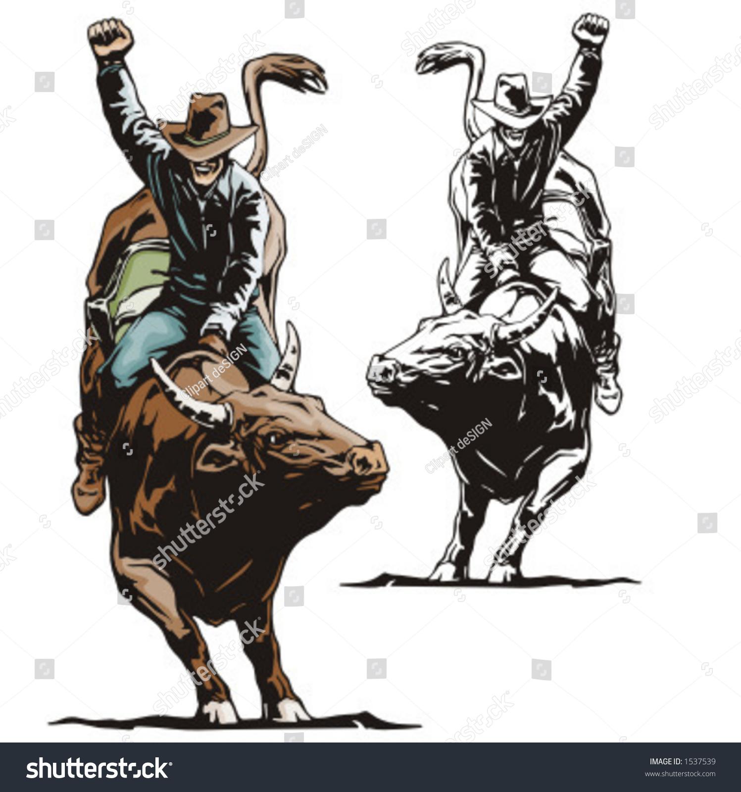 Illustration Rodeo Cowboy Riding Bull Stock Vector 1537539