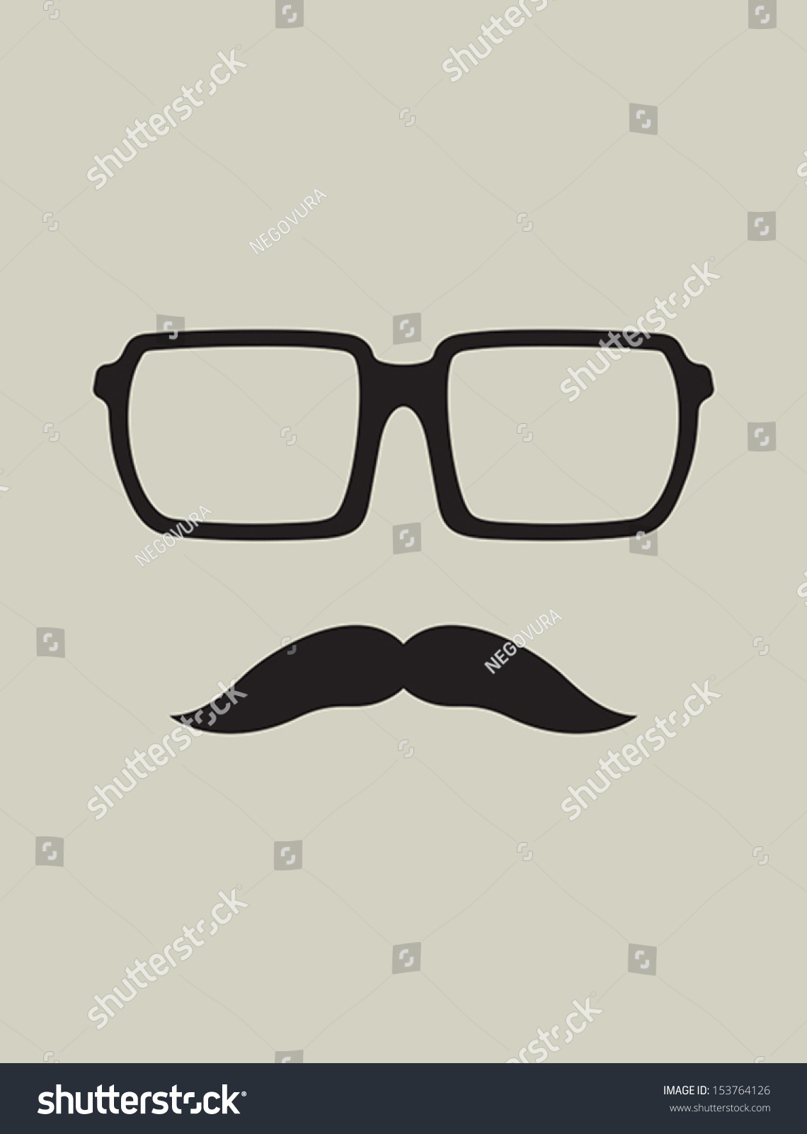 Hipster Template Nerd Glasses Mustaches Stock Vector Royalty Free