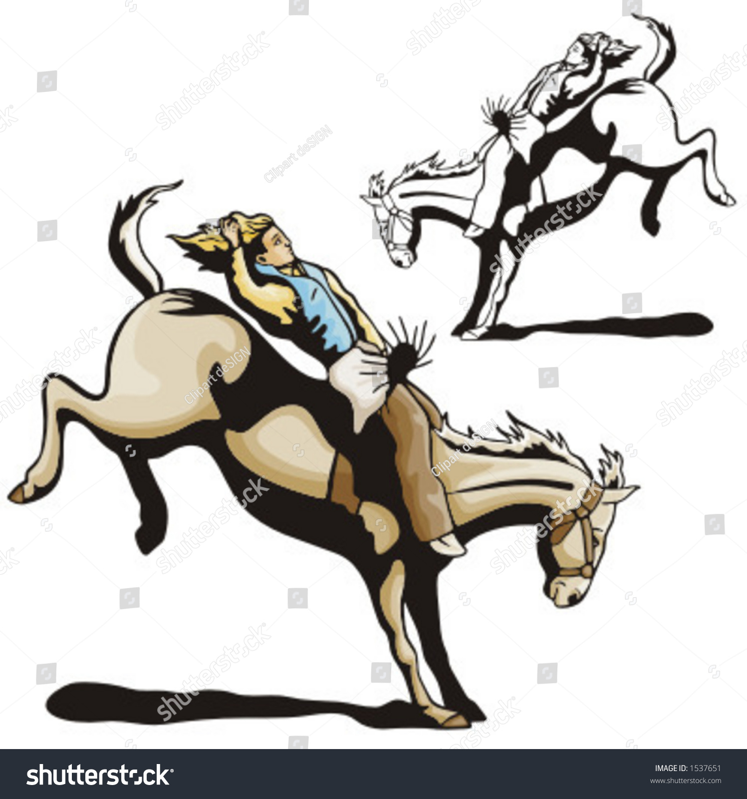Illustration Rodeo Cowgirl Riding Bull Stock Vector 1537651 ...