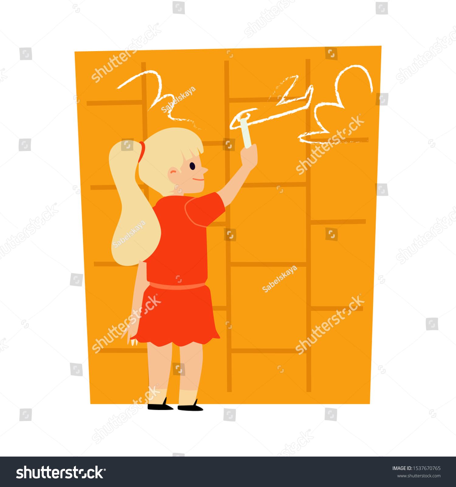 Cute Little Girl Drawing Airplane Dreaming Stock Vector Royalty Free 1537670765