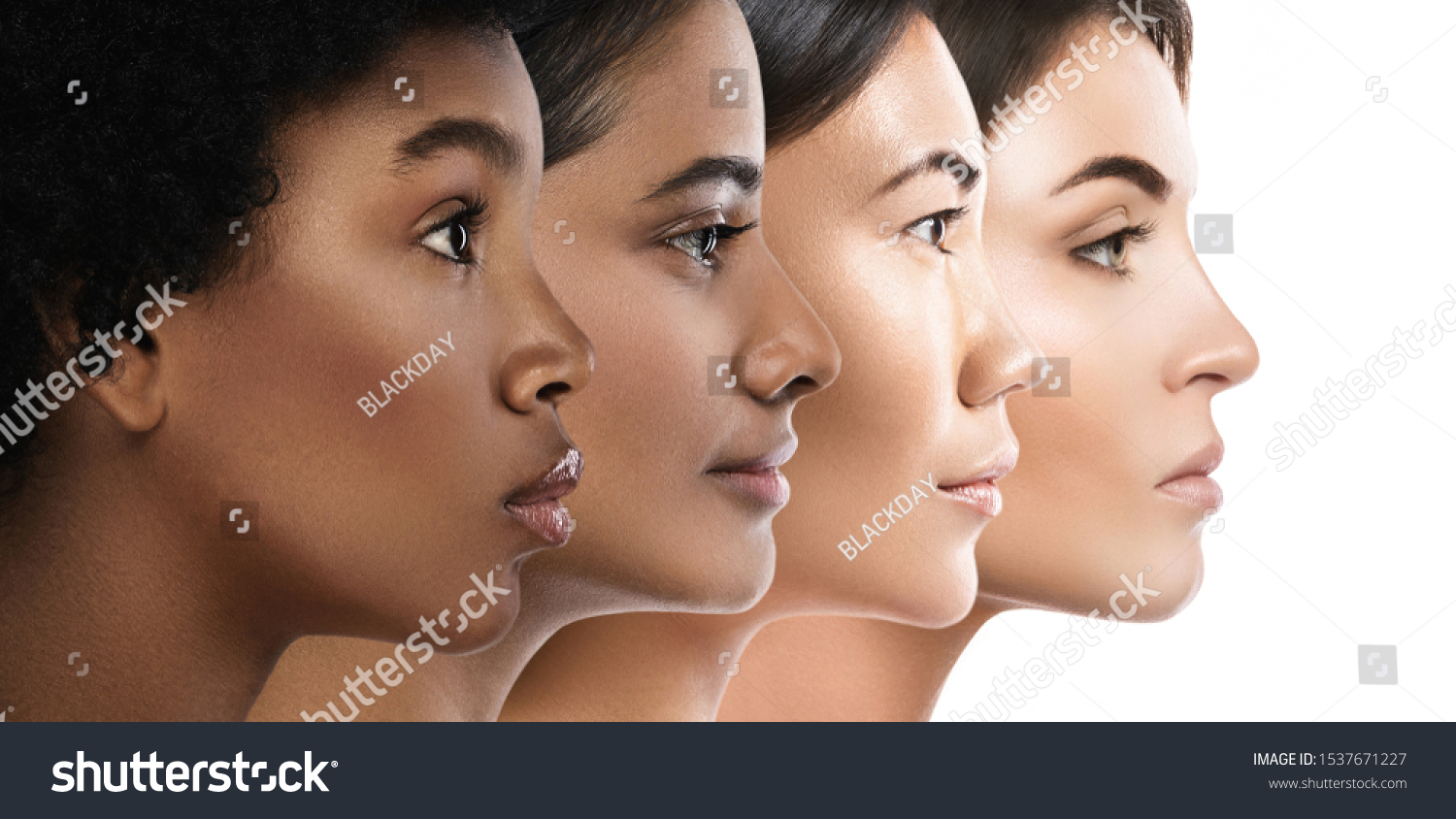 Multi-ethnic beauty. Different ethnicity women - Caucasian, African, Asian and Indian. #1537671227