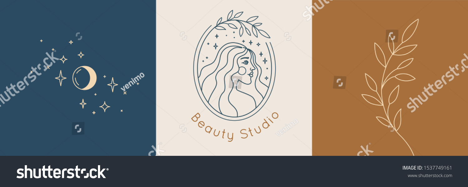 Vector abstract logo and branding design templates in trendy linear minimal style, emblem for beauty studio and cosmetics - female portrait, beautiful woman's face - badge for make up artist, fashion  #1537749161