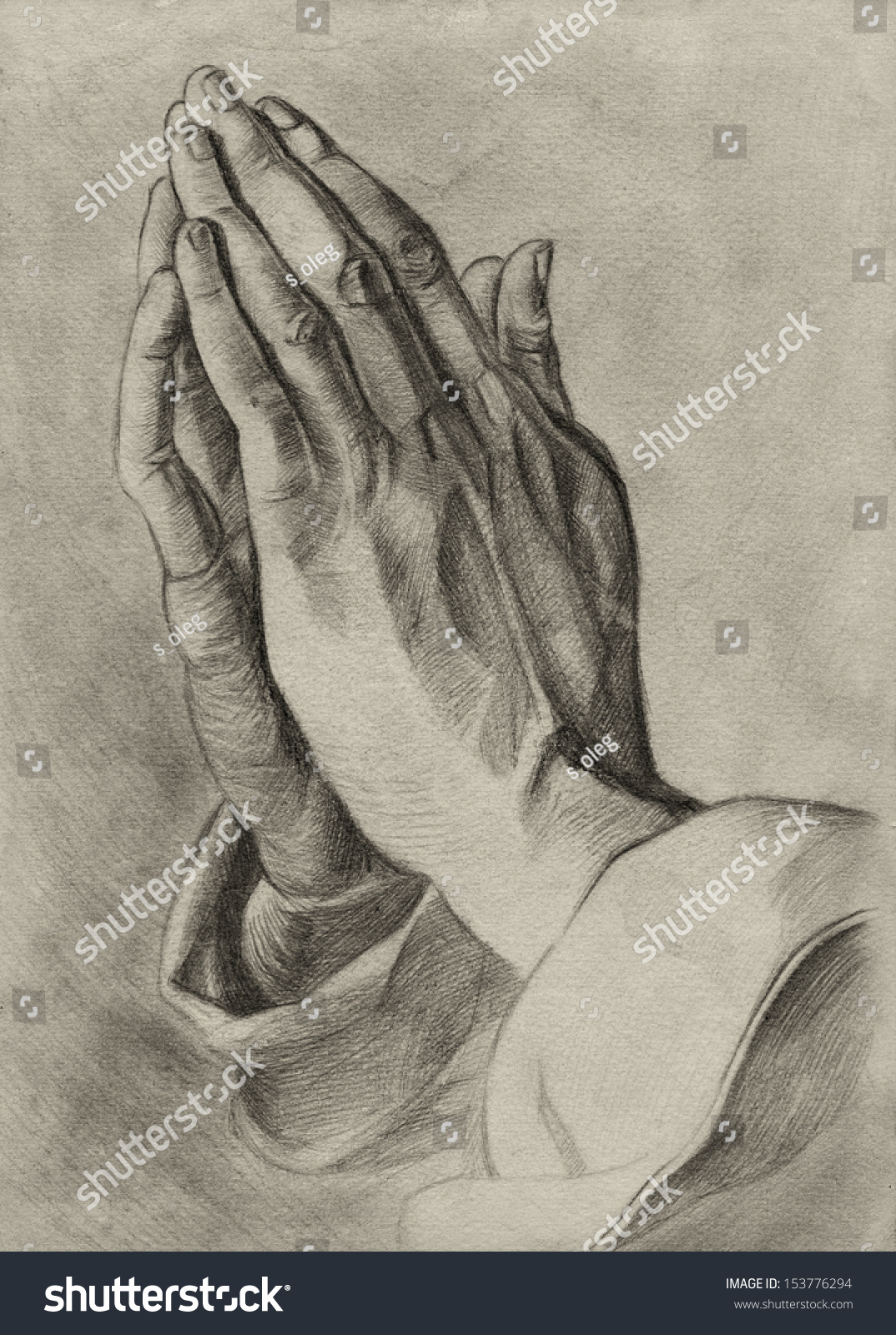 Hands In Pray Pose. Pencil Drawing. Stock Photo 153776294 ...