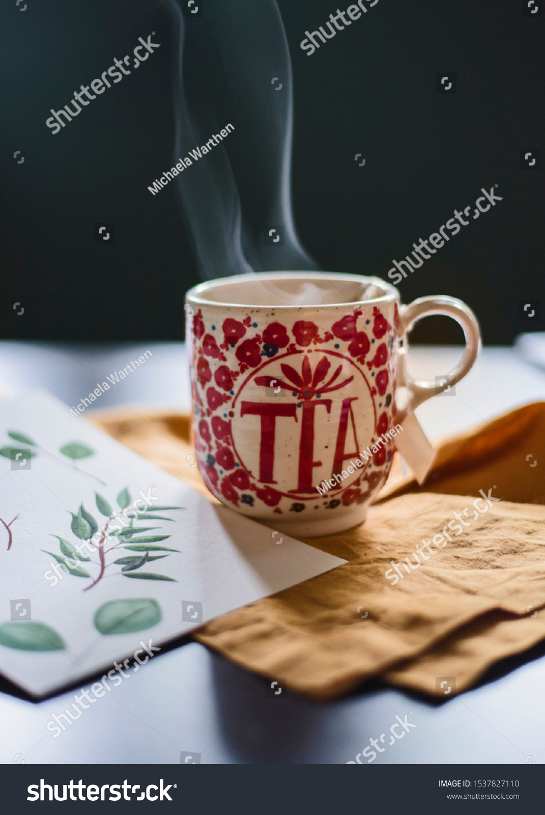 Tea Cute Mug On Watercolor Artists Stock Photo Edit Now 1537827110