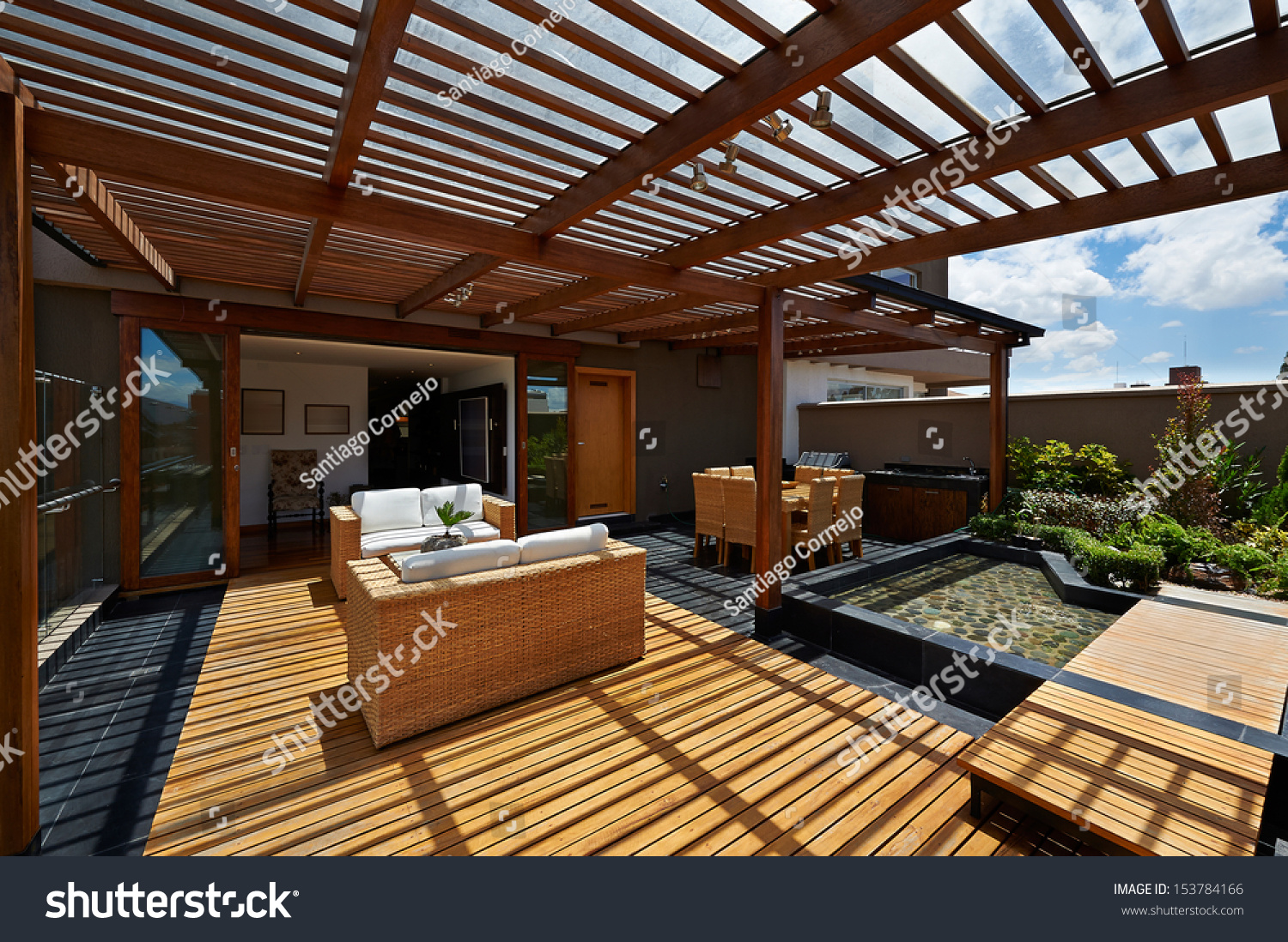 interior design beautiful terrace lounge pergola stock photo 153784166 shutterstock. Black Bedroom Furniture Sets. Home Design Ideas