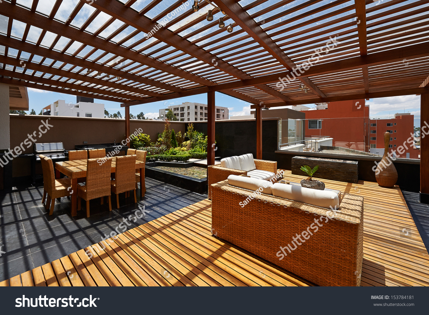 Interior design beautiful terrace lounge with pergola for Terrace lounge