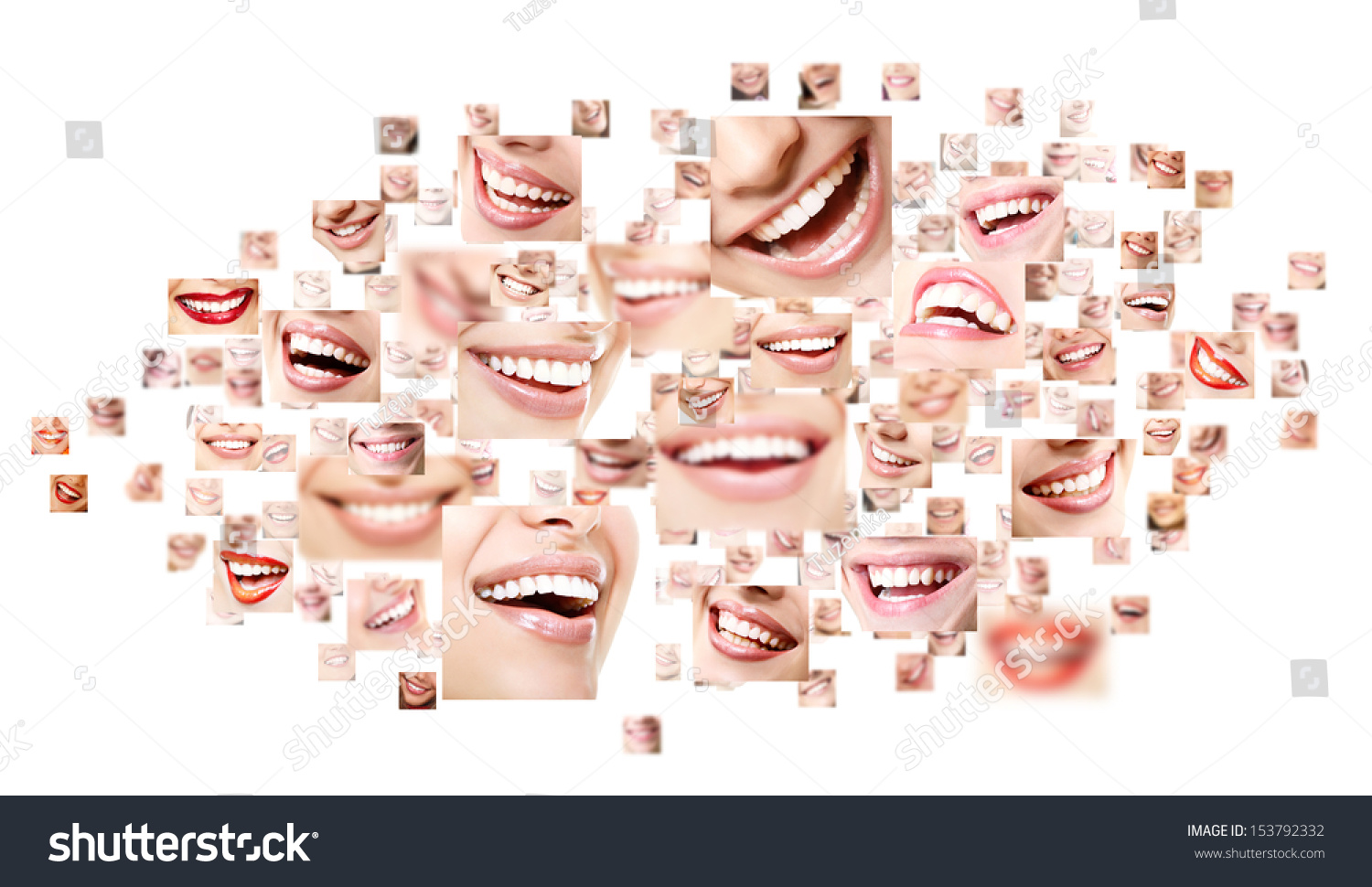 Perfect Smiles Collage Collection Beautiful Wide Stock ...