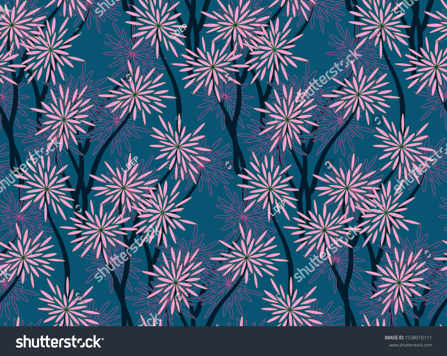 Retro Floral Wallpaper Asian Style Navy Stock Vector Royalty Free