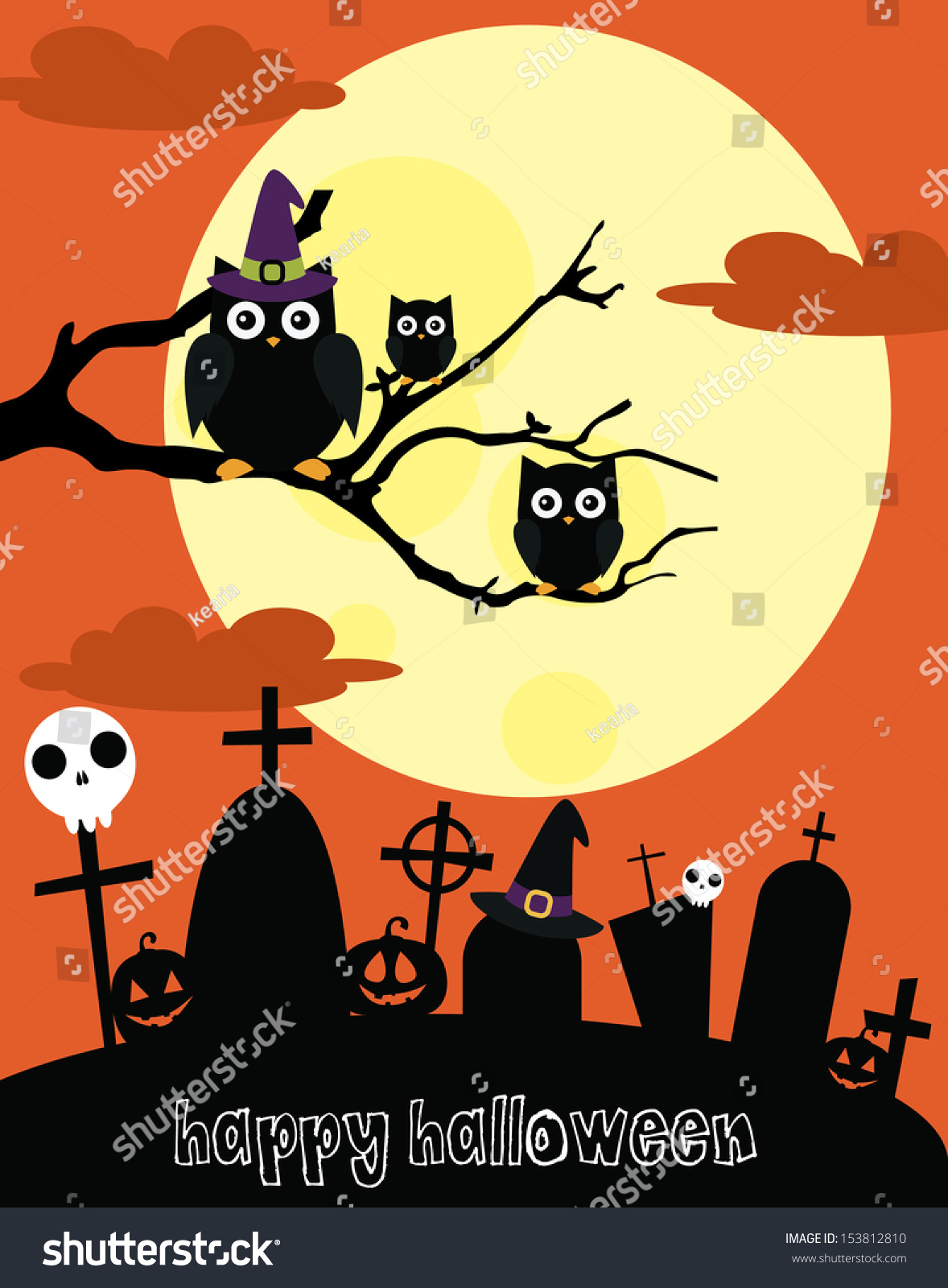 happy halloween card design vector illustration stock vector