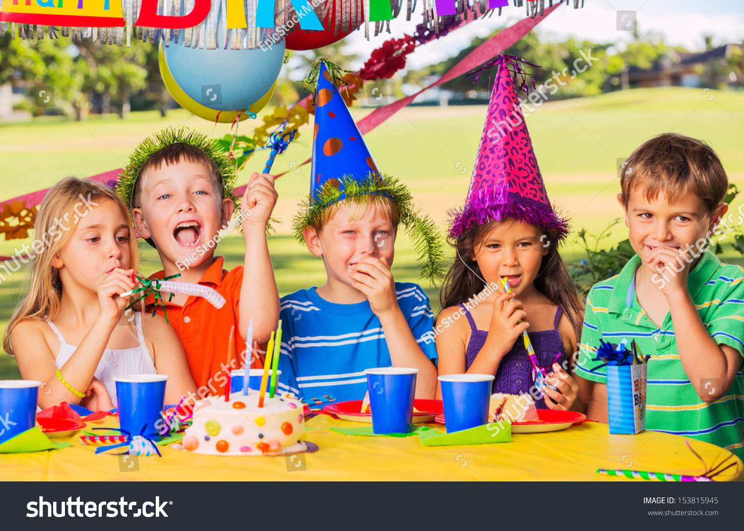 Group of adorable kids at birthday party #153815945