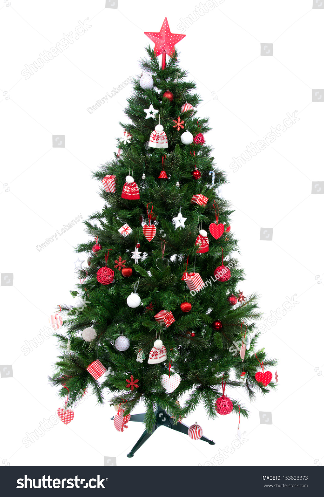 christmas tree decorated ornament red star stock photo 153823373