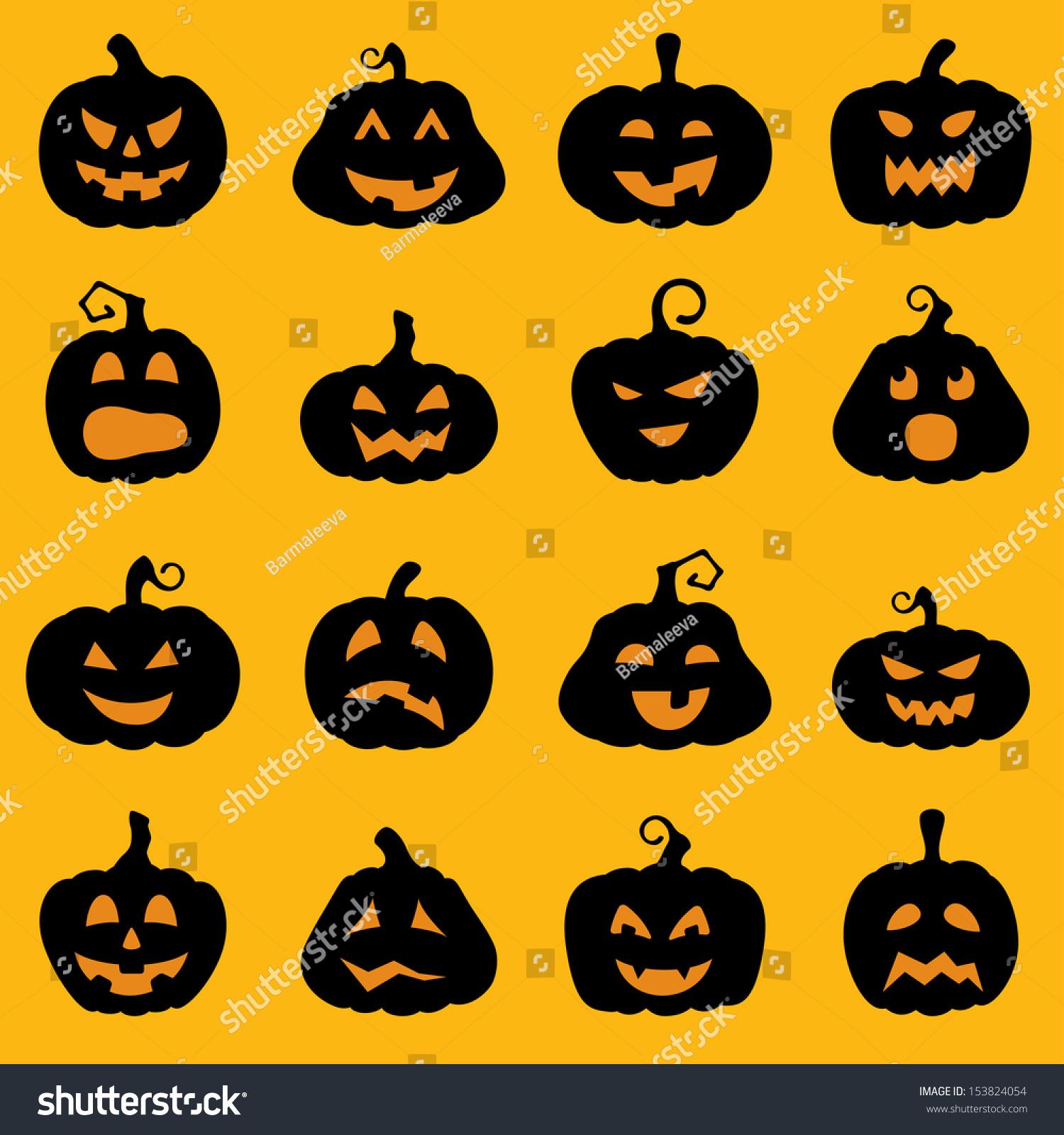halloween decoration jacko lantern silhouette set pumpkins stock