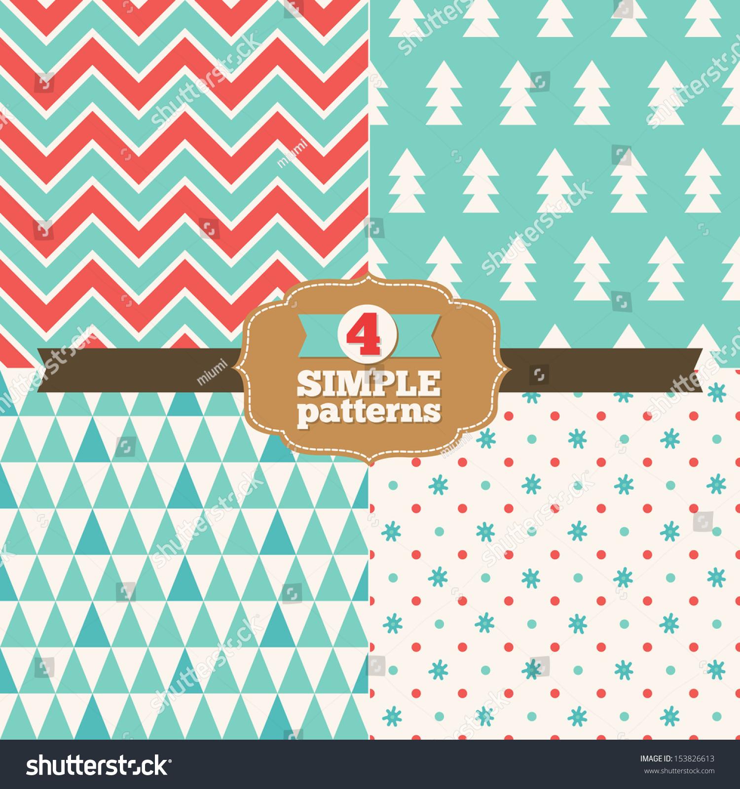 set simple christmas patterns stock vector 153826613 shutterstock