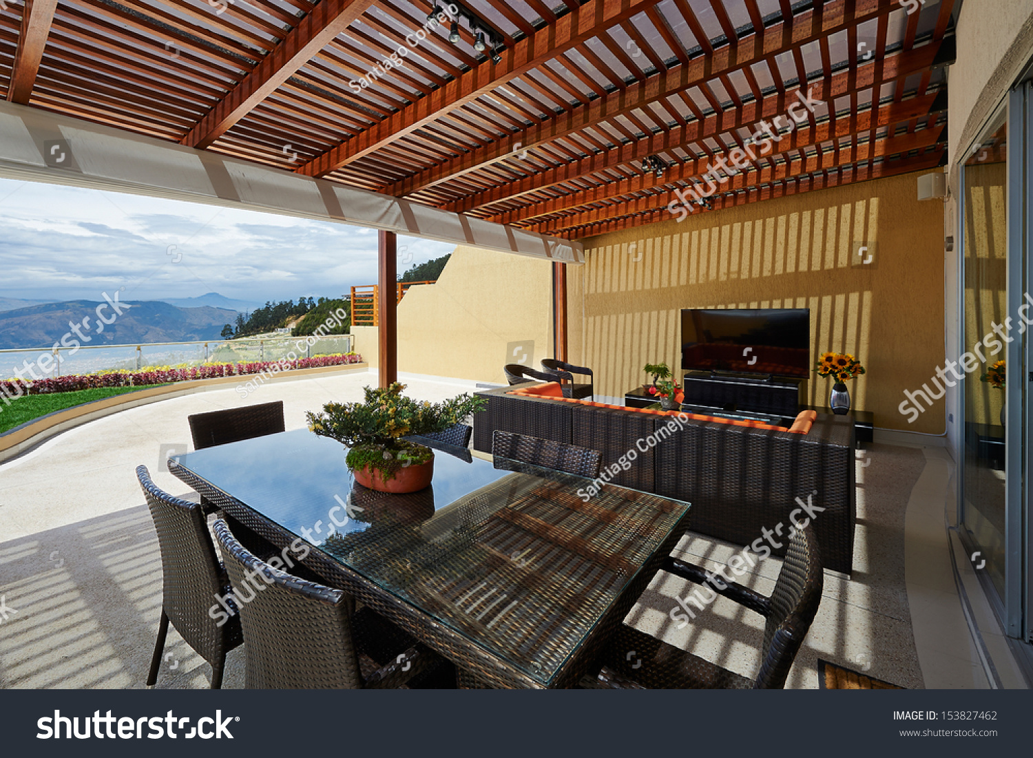 Interior design beautiful modern terrace lounge stock for Terrace pergola