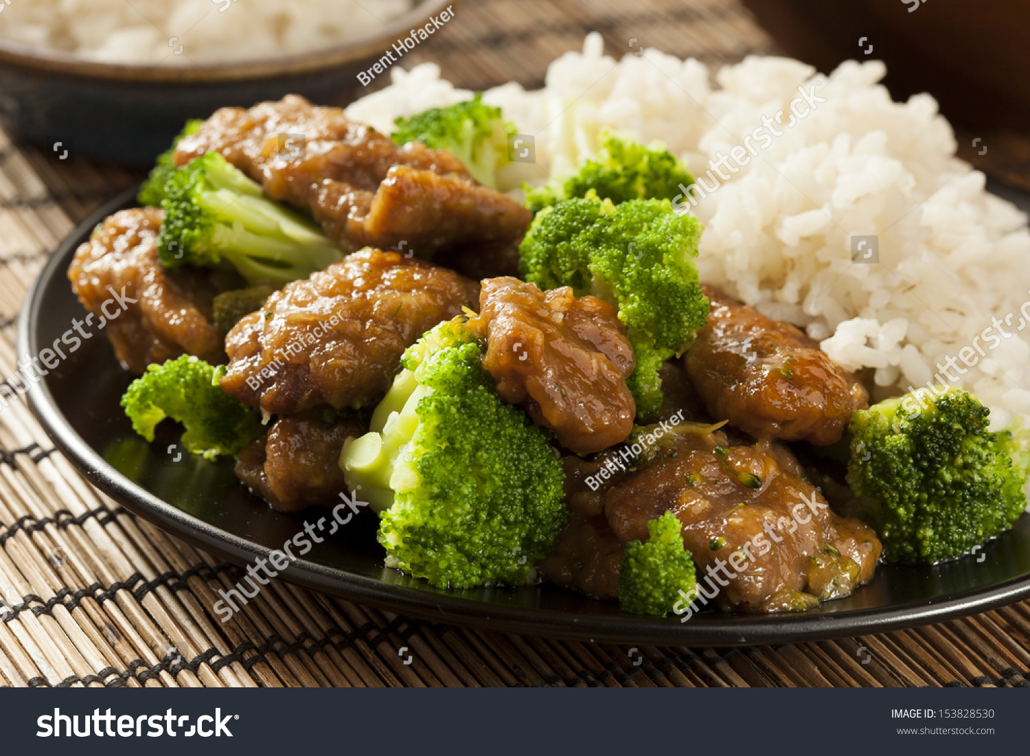 Homemade Asian Beef And Broccoli With Rice Stock Photo ...