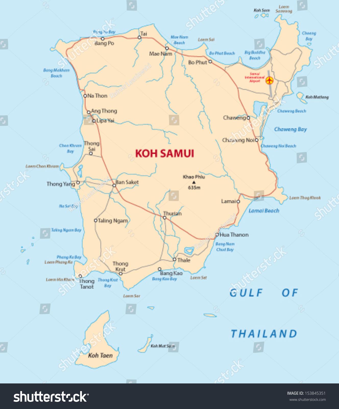 Koh Samui Thailand Map Stock Vector Royalty Free 153845351