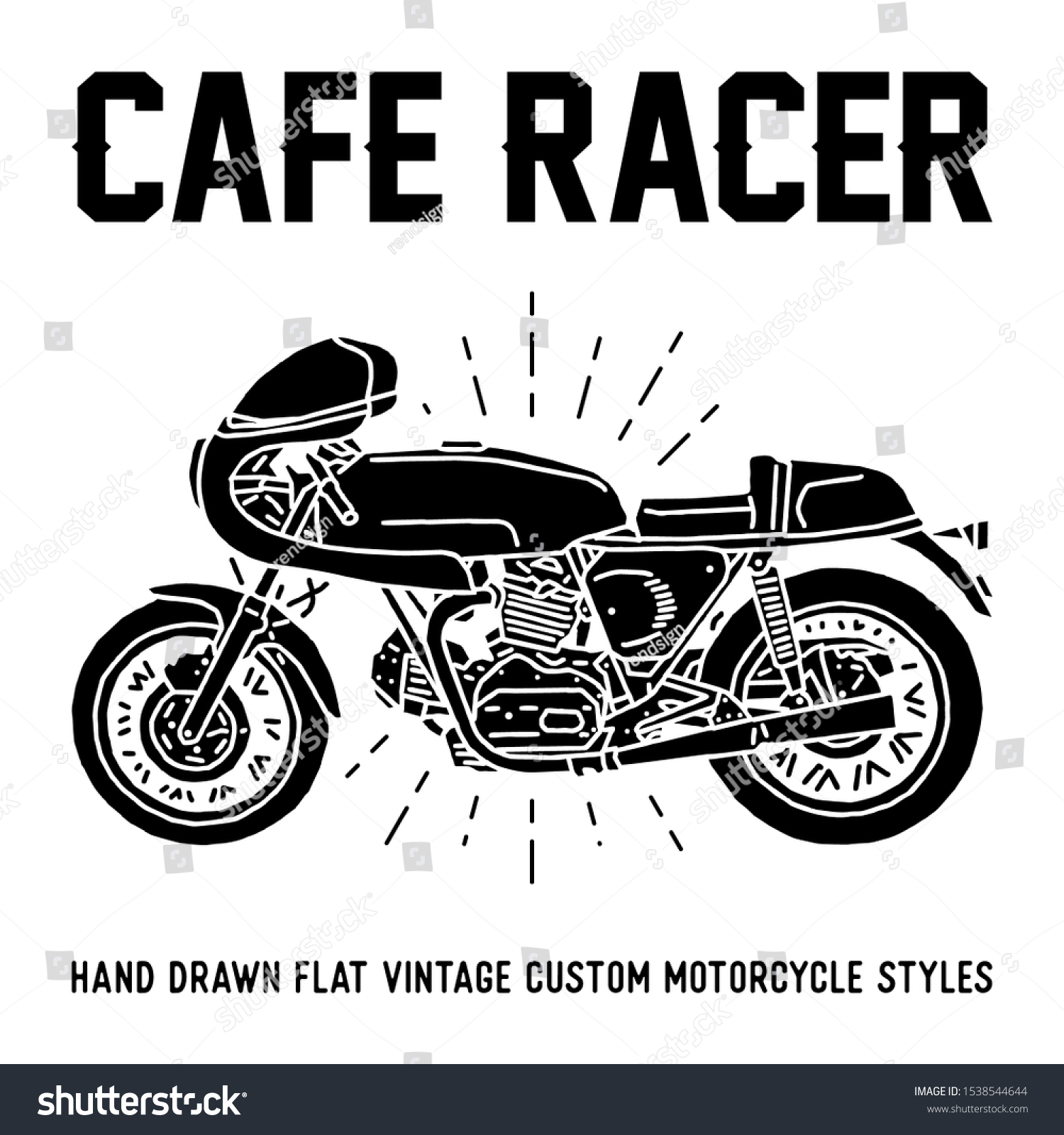 Hand Drawn Cafe Racer Series Vintage Custom Motorcycle Flat Design Ray Lights