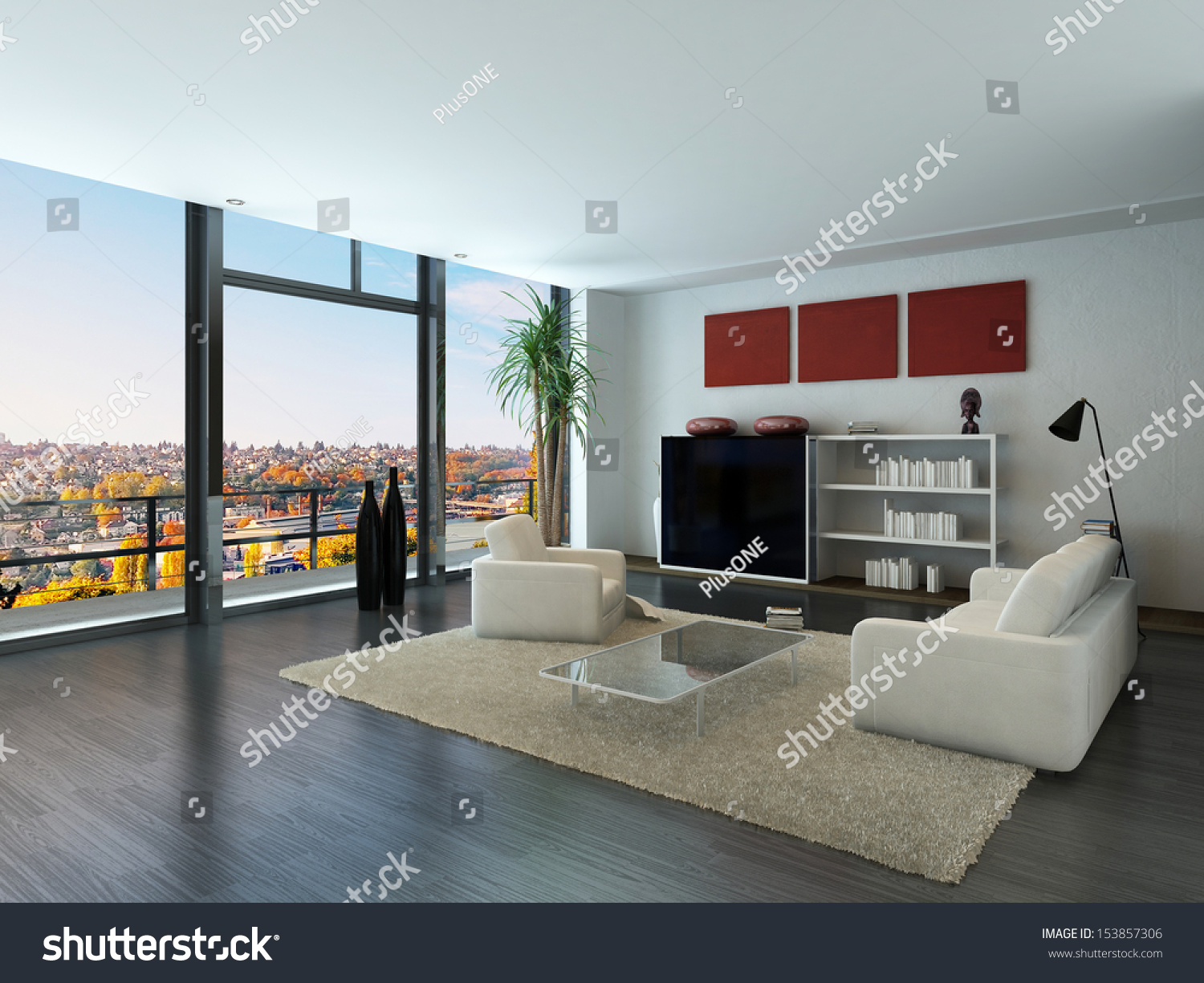 Modern loft interior trendy living room stock illustration for Trendy living room furniture