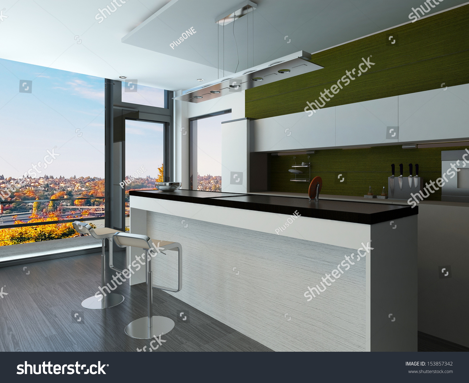 green bar kitchen modern white green kitchen interior two stock illustration 3968