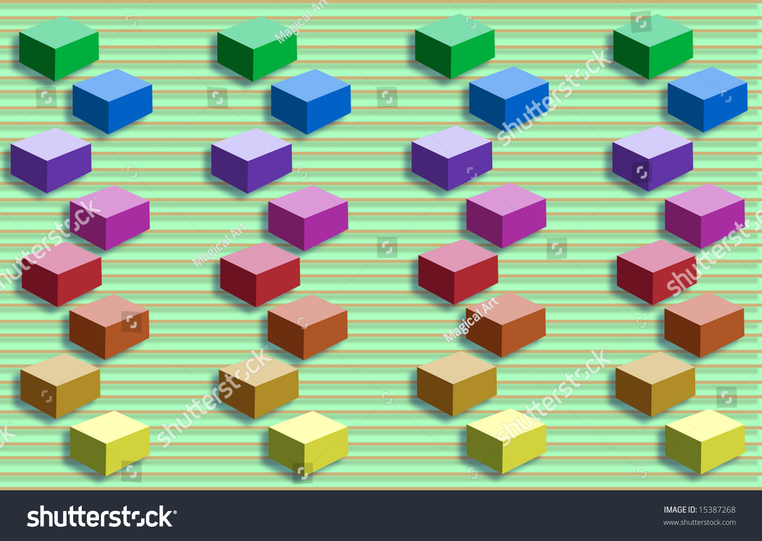 Cubes Arranged In Rows An Ascending Order Based On The Color Spectrum