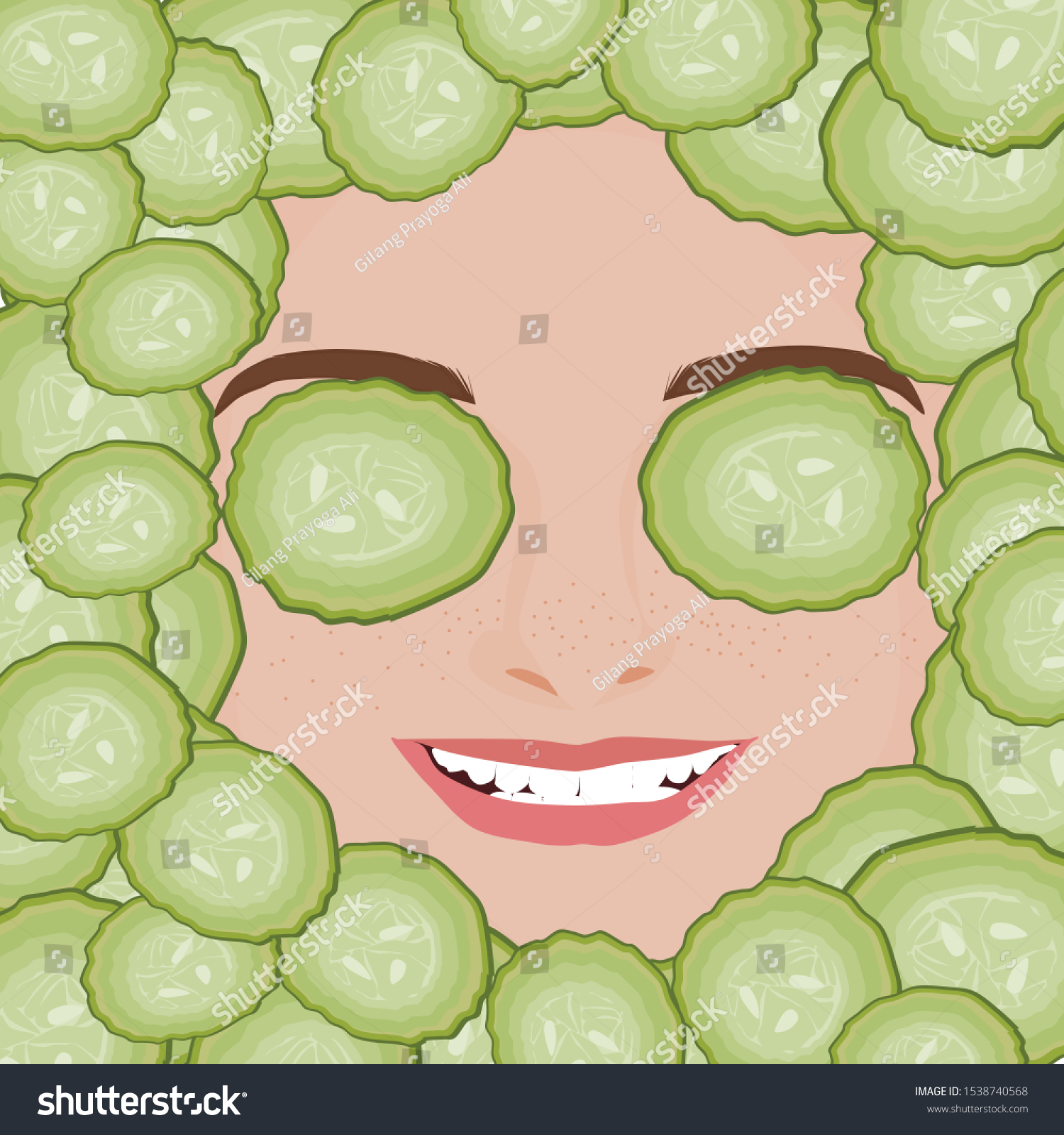 Cute Beautiful Woman Face Cucumber Slice Stock Vector Royalty Free 1538740568