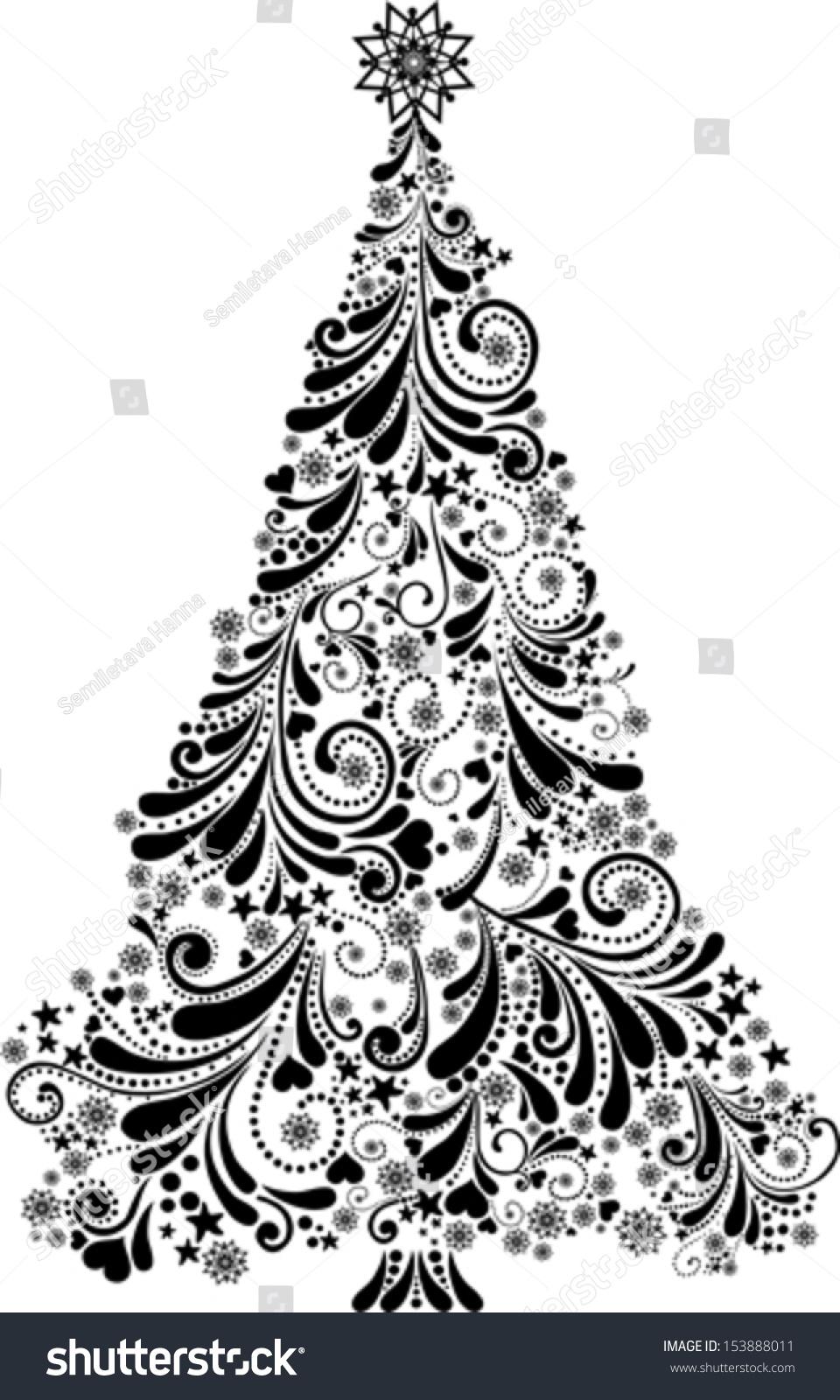 Graphic Elegant Christmas Tree Isolated On White ...