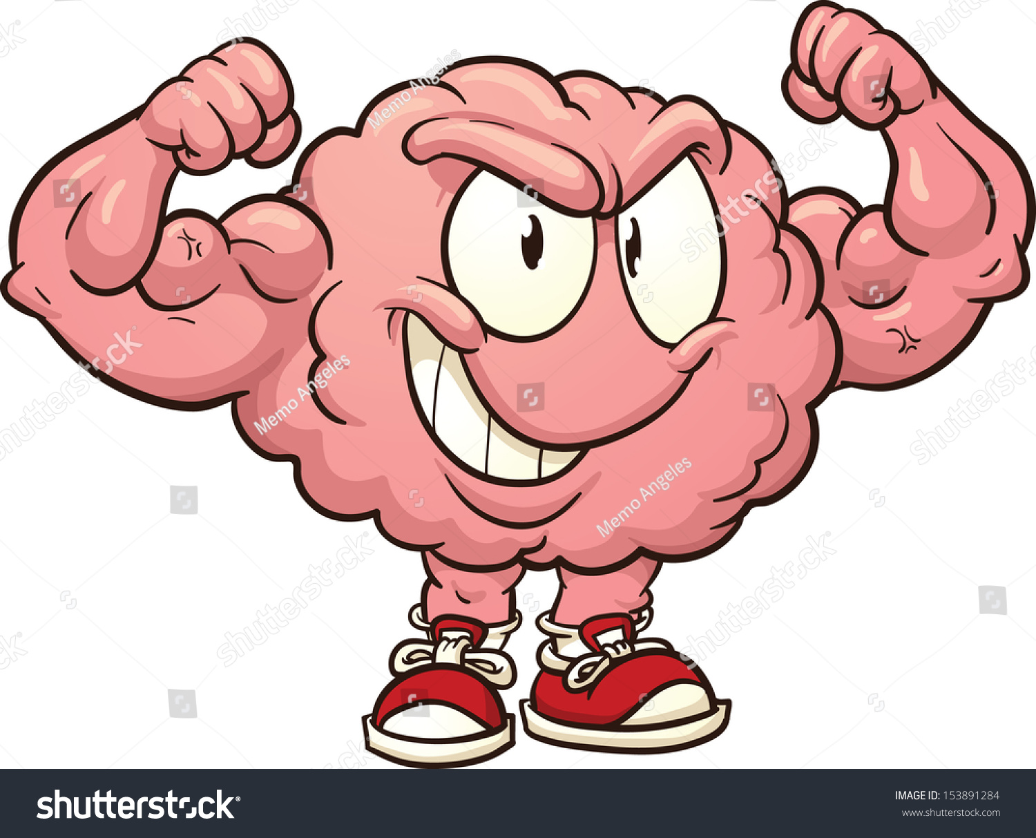 strong cartoon brain vector clip art stock vector