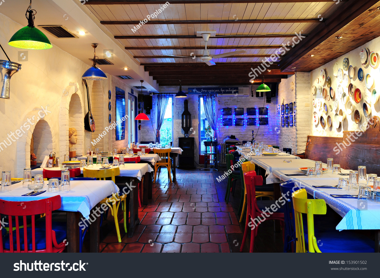 Greek restaurant interior stock photo shutterstock