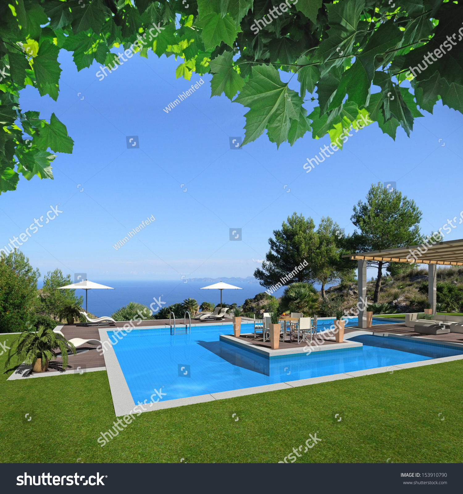Fictitious swimming pool scenery with a beautiful view to the sea 3d