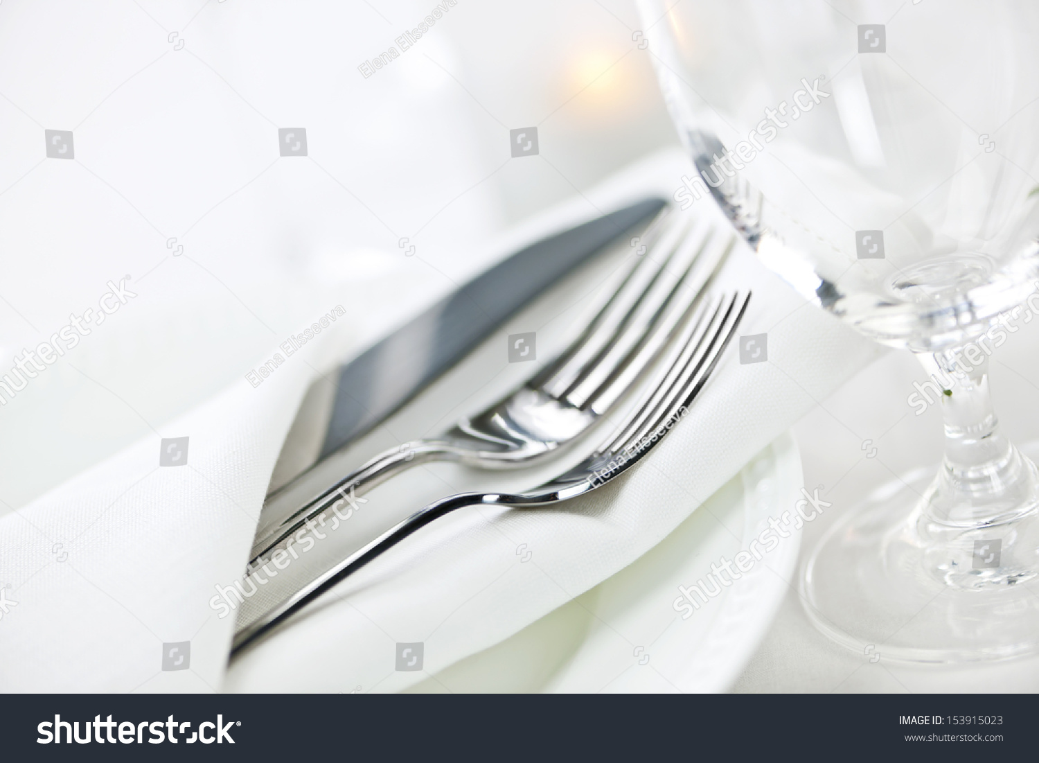 Table setting in a restaurant. Cutlery 86
