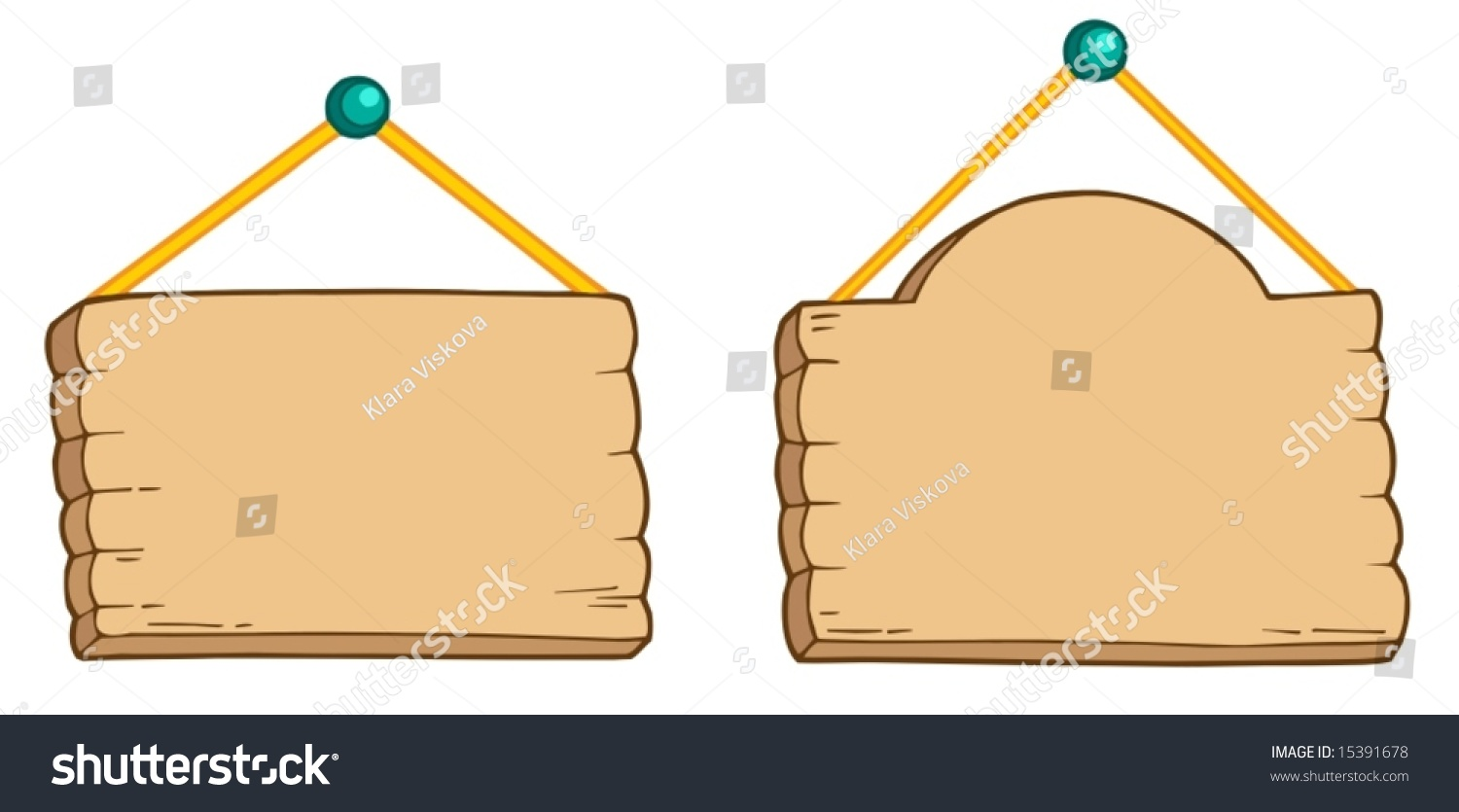 hanging wooden signs vector illustration 15391678
