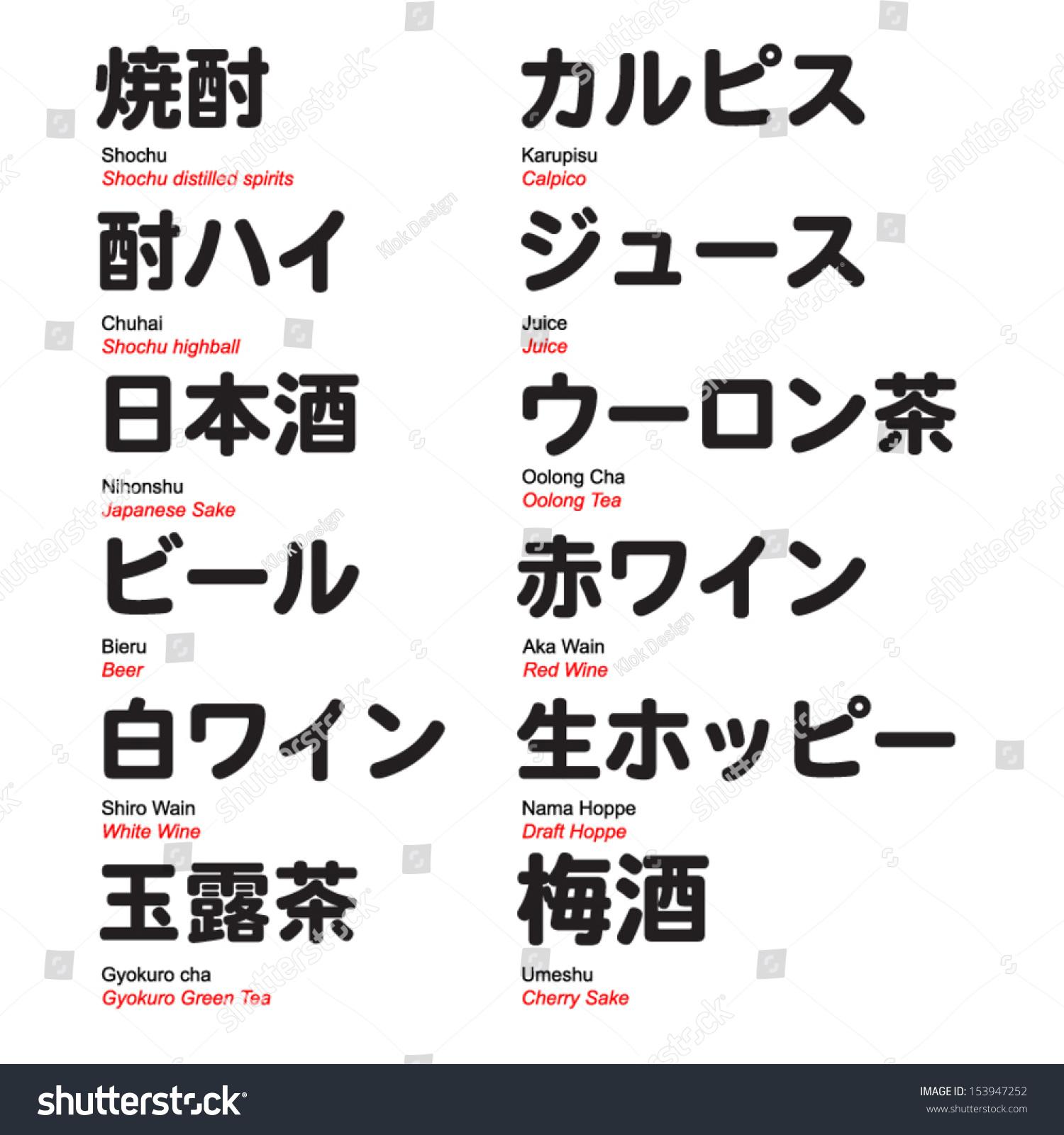 Kanji with translation, bar drinks with… Stock Photo