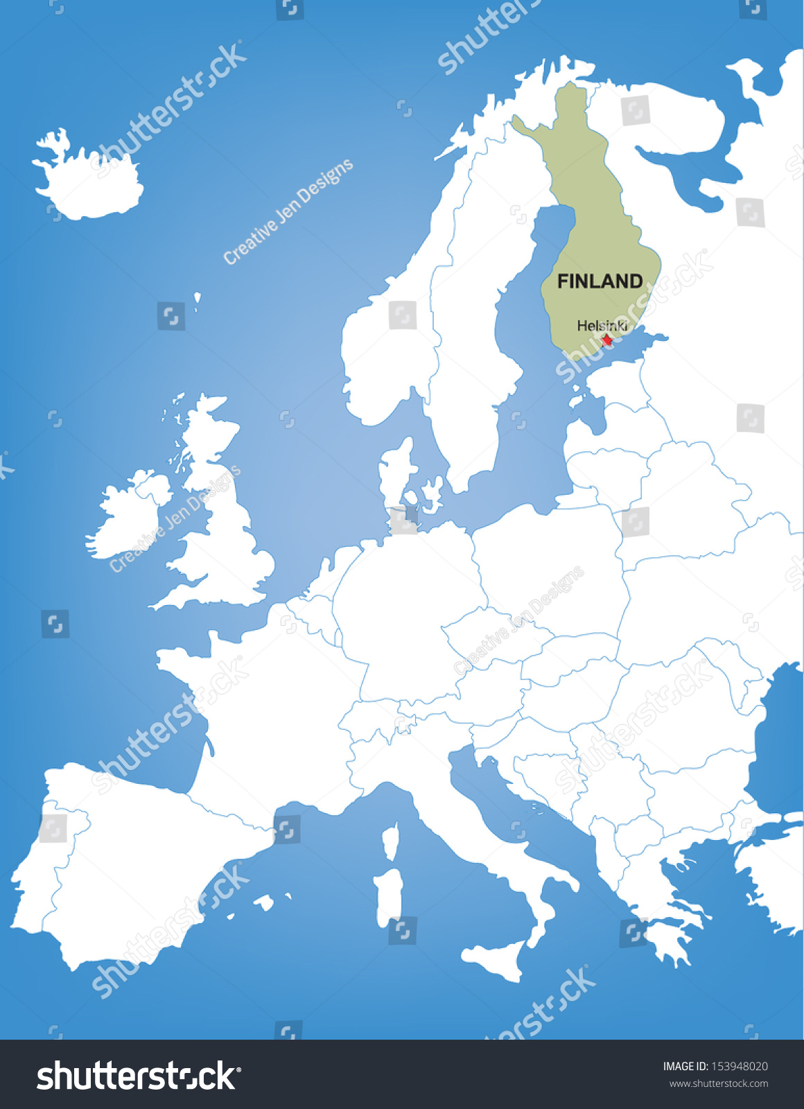 Vector map europe highlighting country finland stock vector vector map of europe highlighting the country of finland gumiabroncs Gallery