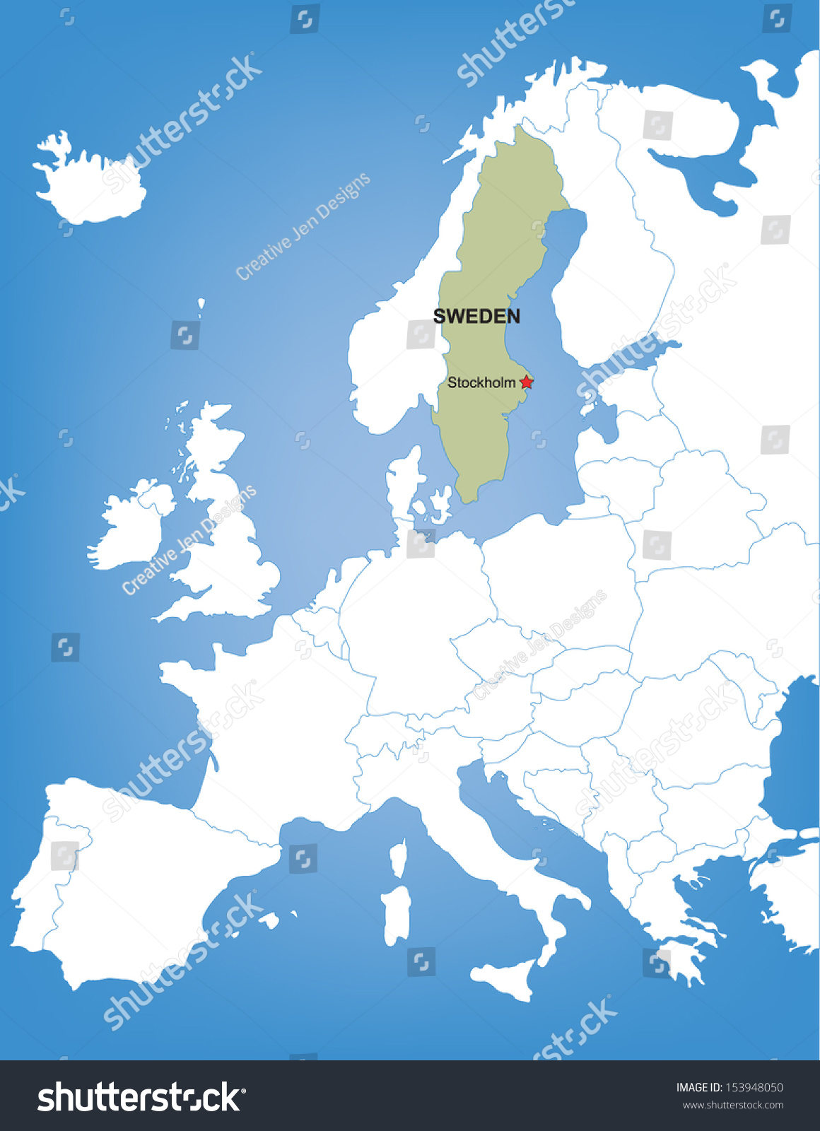 Vector map europe highlighting country sweden stock photo photo vector map of europe highlighting the country of sweden publicscrutiny Image collections