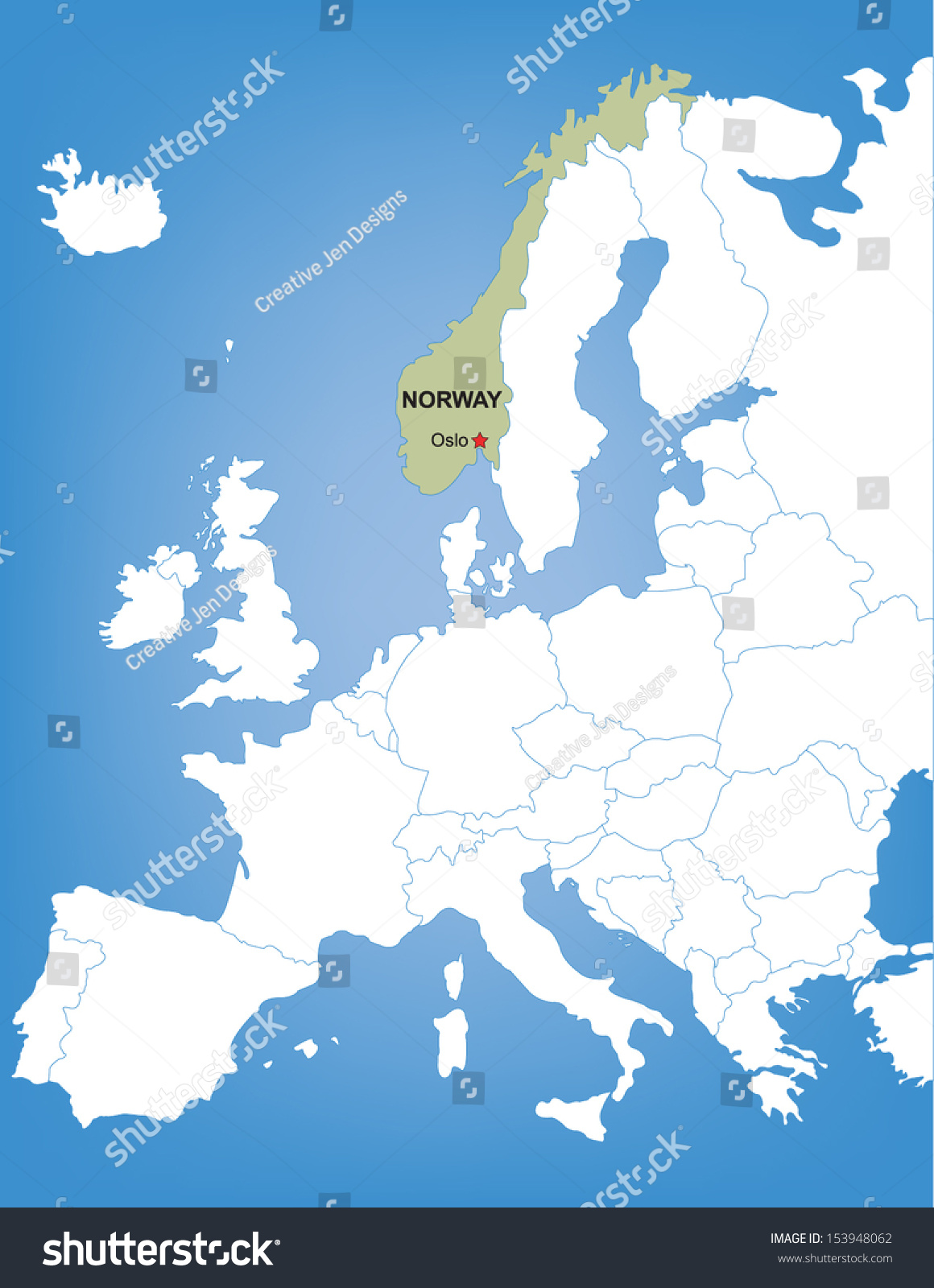 Norway On Map Of Europe.Vector Map Europe Highlighting Country Norway Stock Vector Royalty