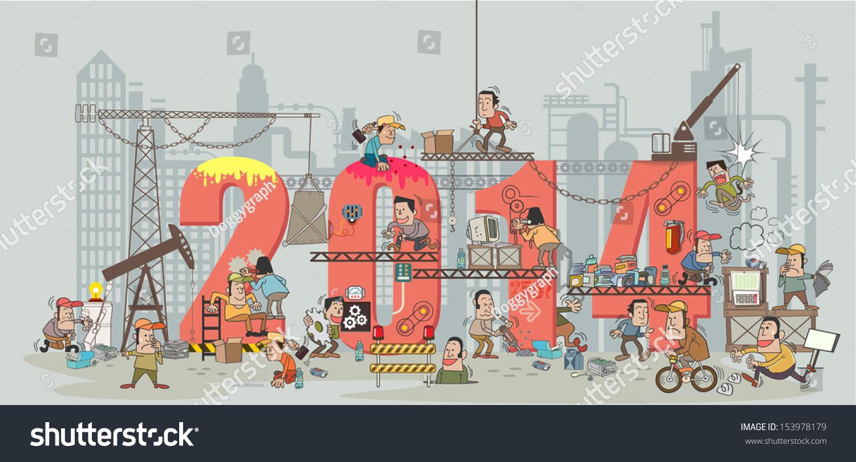 Building Construction Cartoon : Funny cartoon construction workers collaborating