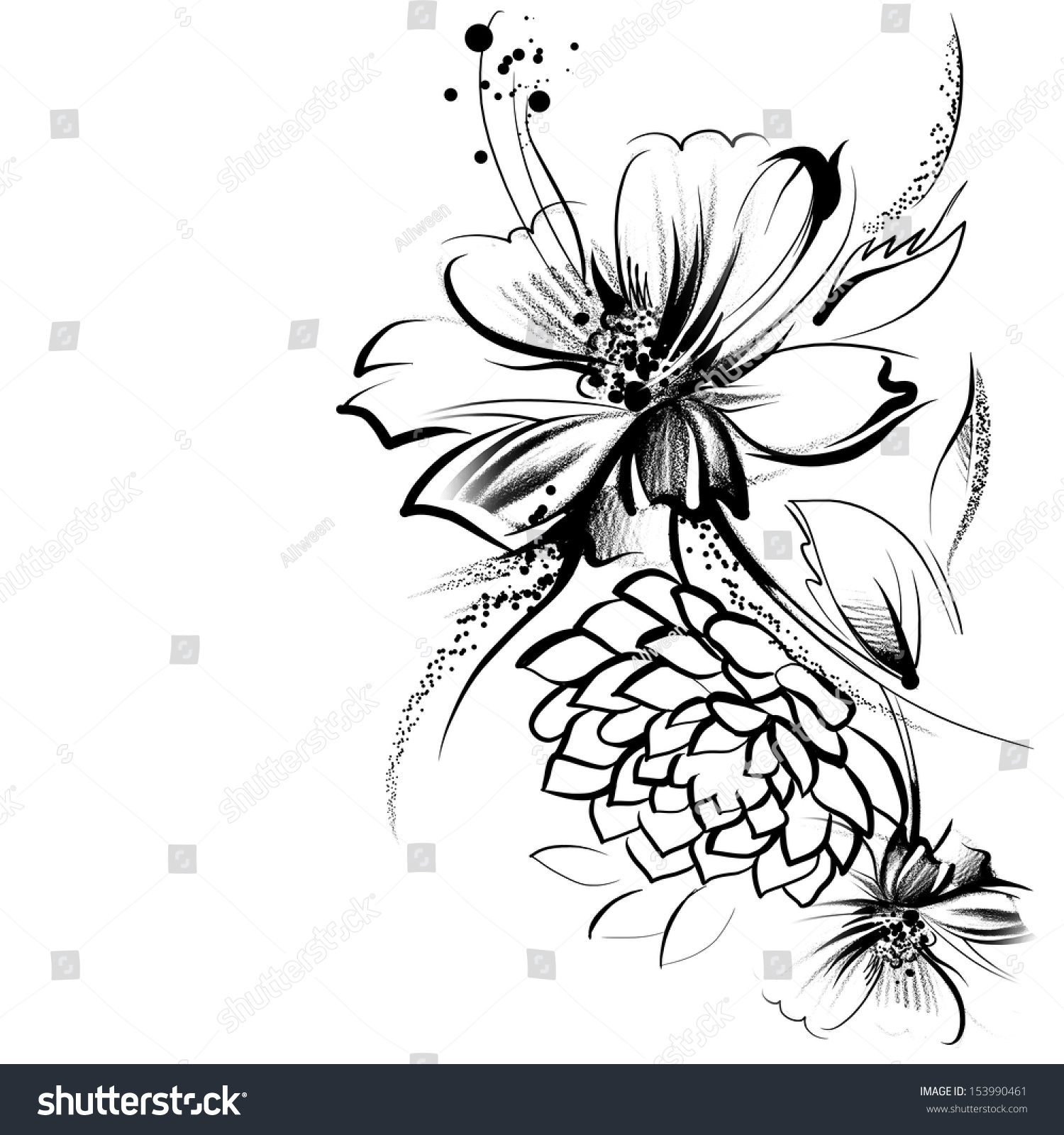 Abstract Line Drawing Flowers : Flowers drawn ink on old paper stock illustration
