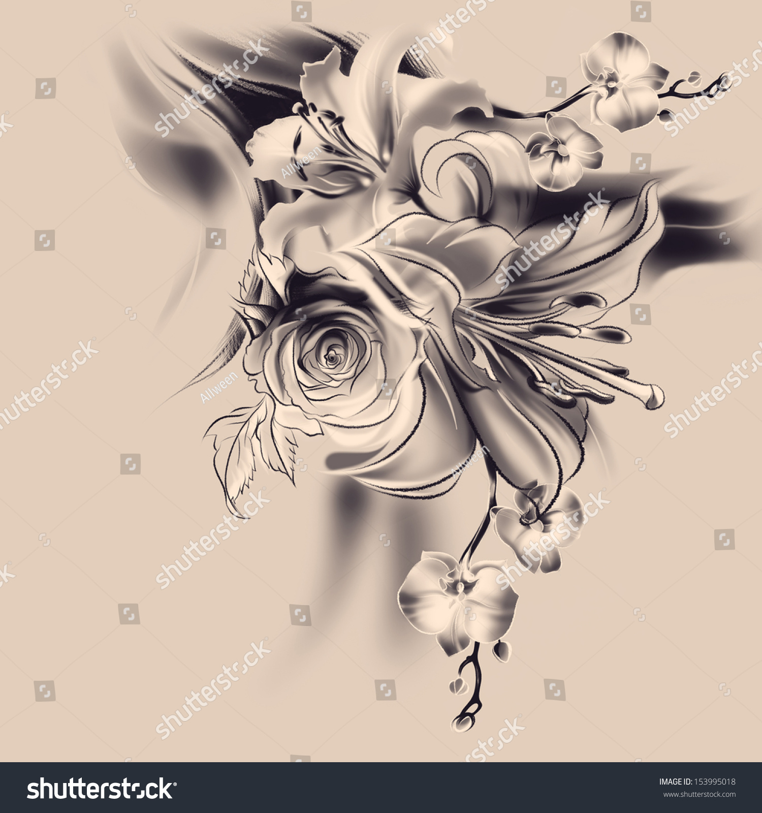 royalty free flowers drawing with simple pencil and 153995018
