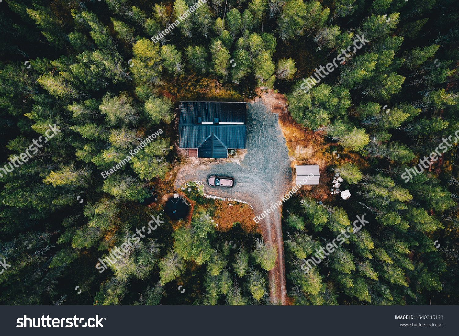 Aerial view of secluded cottage in the woods. Log cabin in the forest in rural Finland. View from above. #1540045193